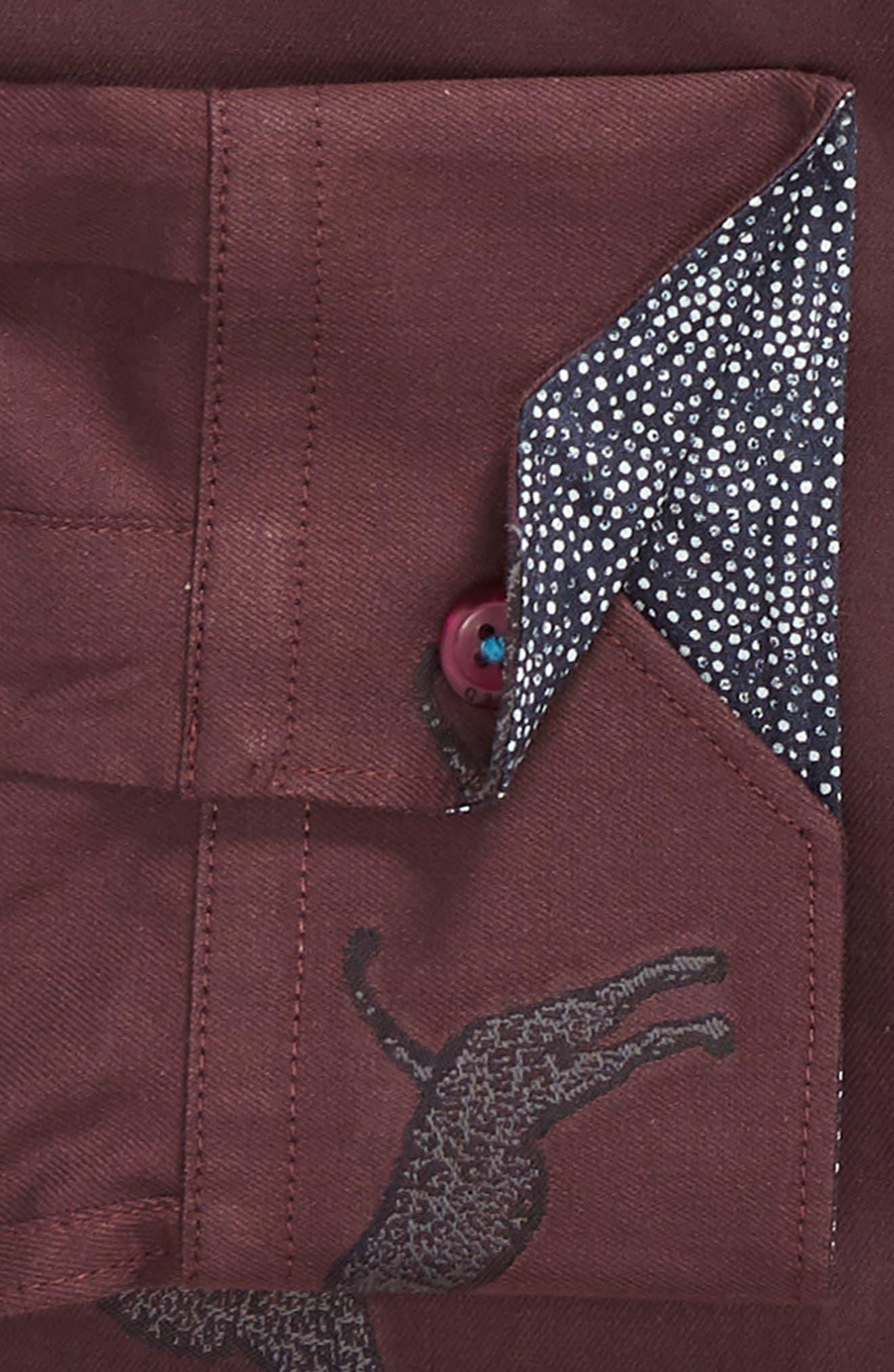 Bean Modern Fit Print Dress Shirt,                             Alternate thumbnail 6, color,                             DARK RED