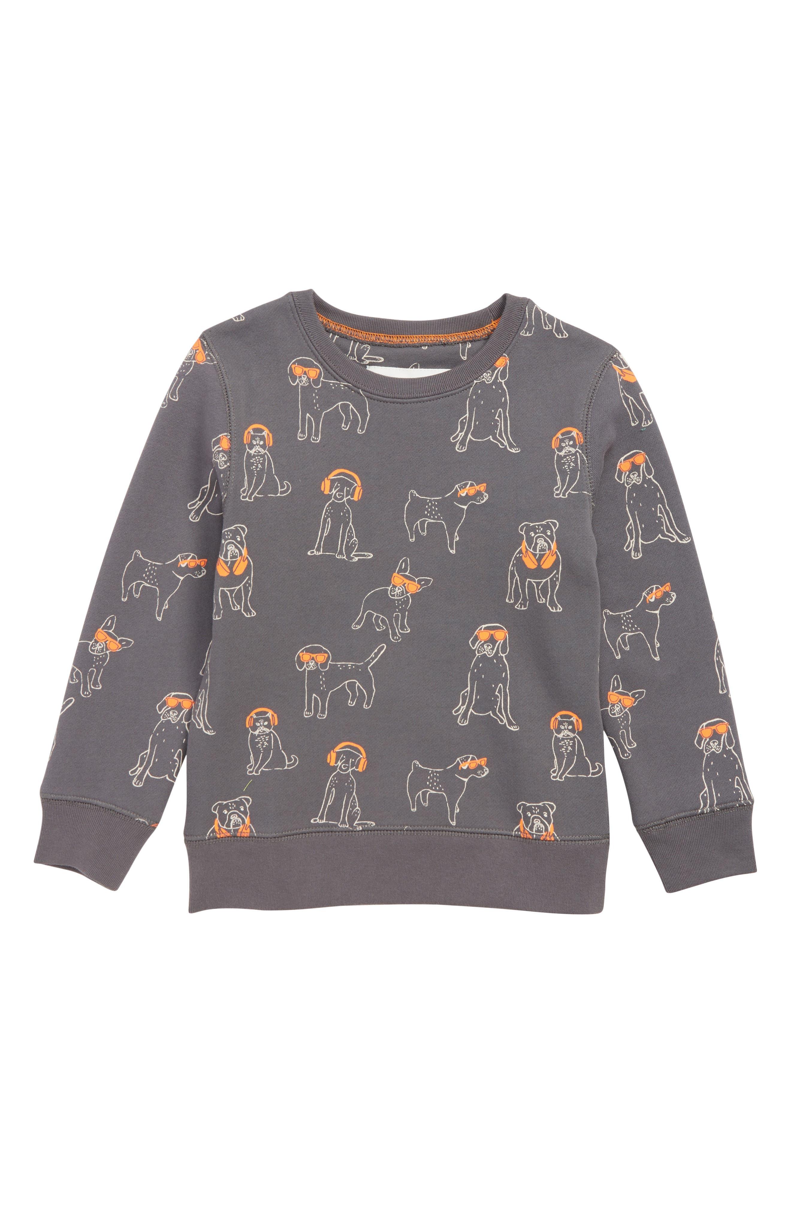 DJ Dogs Fun Sweatshirt, Main, color, PEWTER GREY