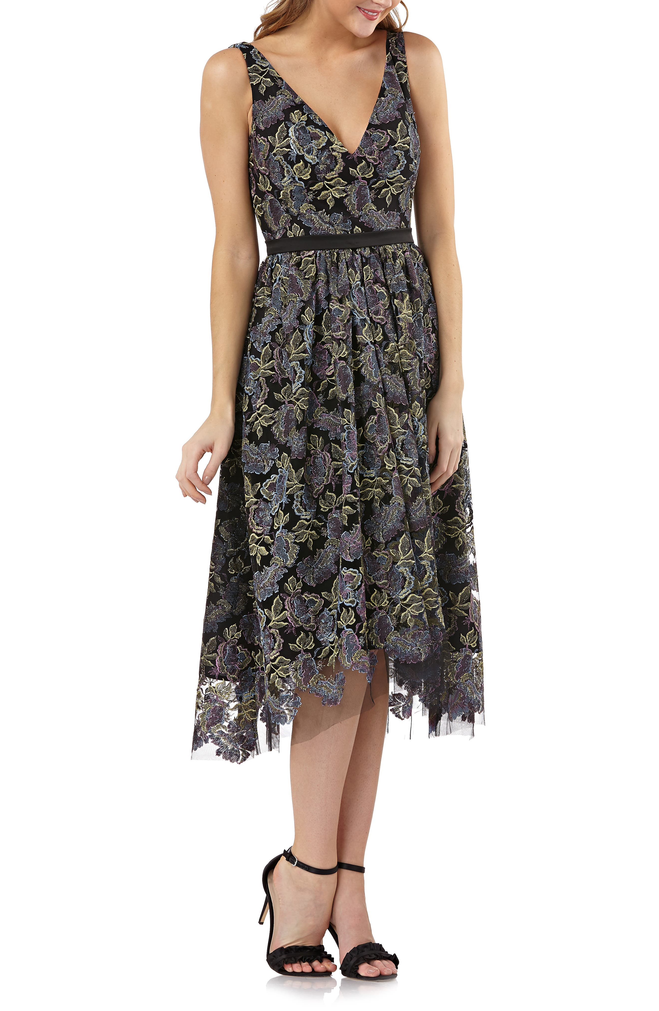 Js Collections Metallic Floral Dress, Black