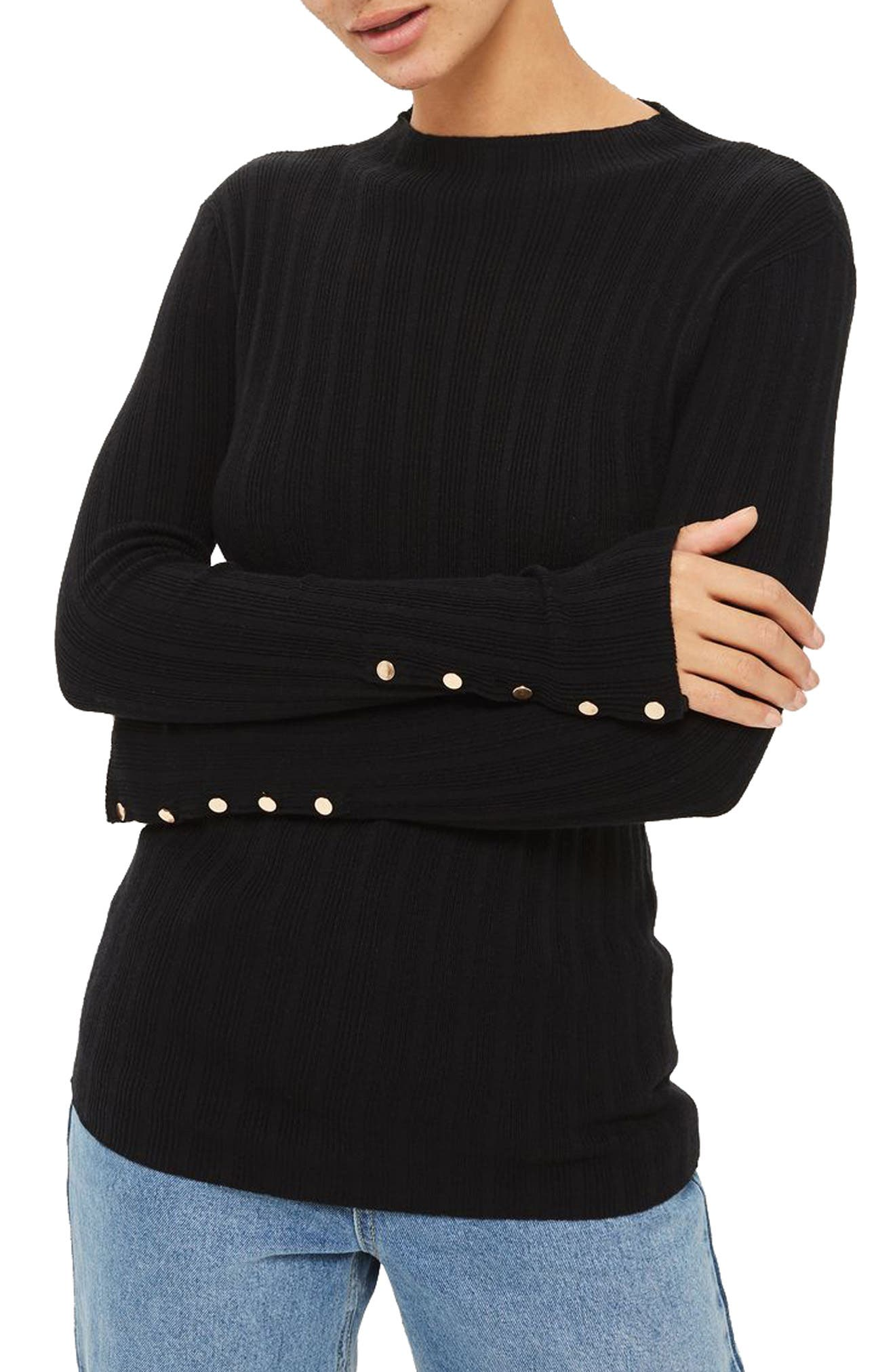 Snap Sleeve Ribbed Sweater,                         Main,                         color, 001