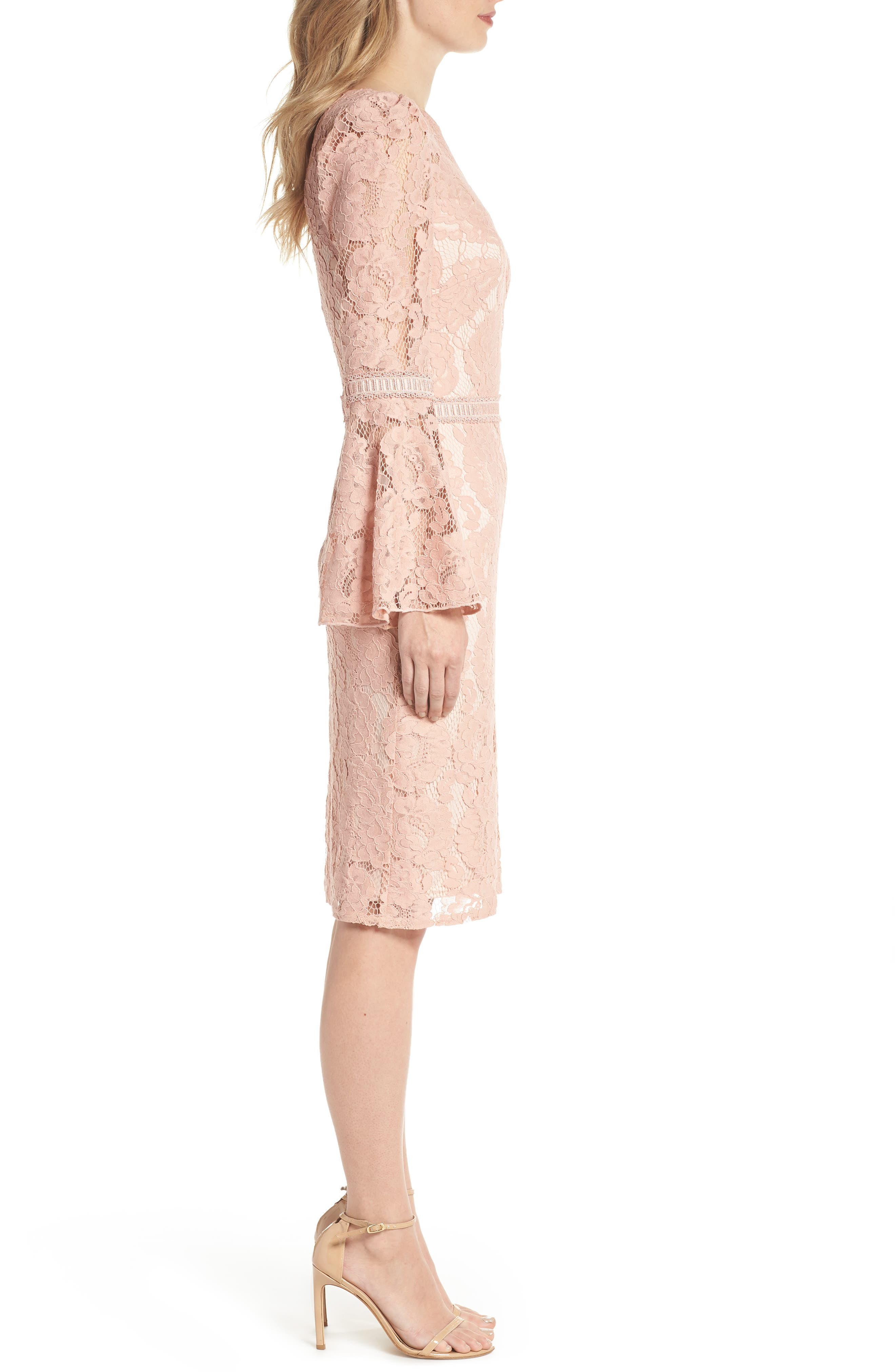 Lace Bell Sleeve Dress,                             Alternate thumbnail 6, color,