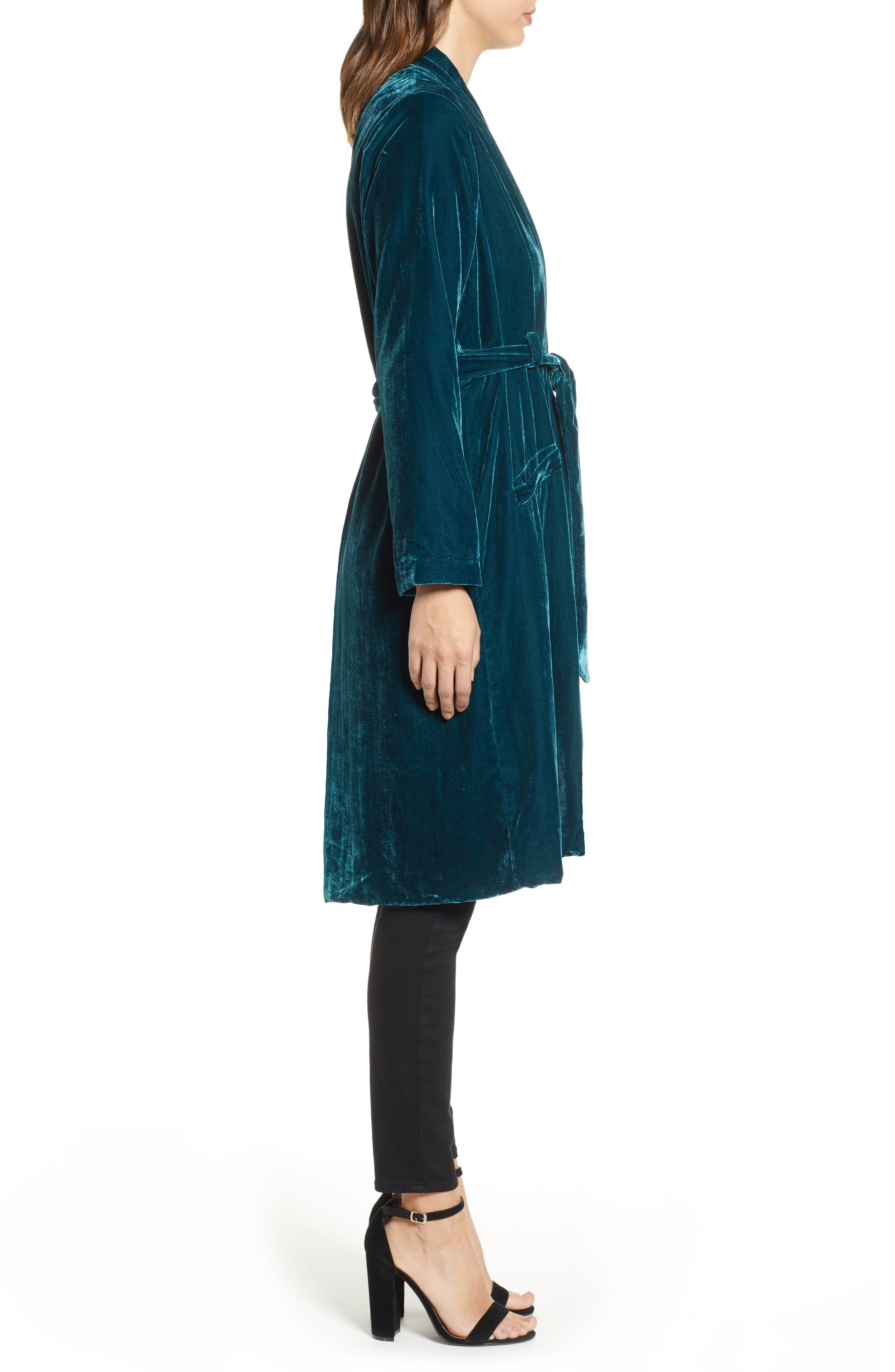 CUPCAKES AND CASHMERE,                             Belted Velvet Duster,                             Alternate thumbnail 4, color,                             FOREST GREEN