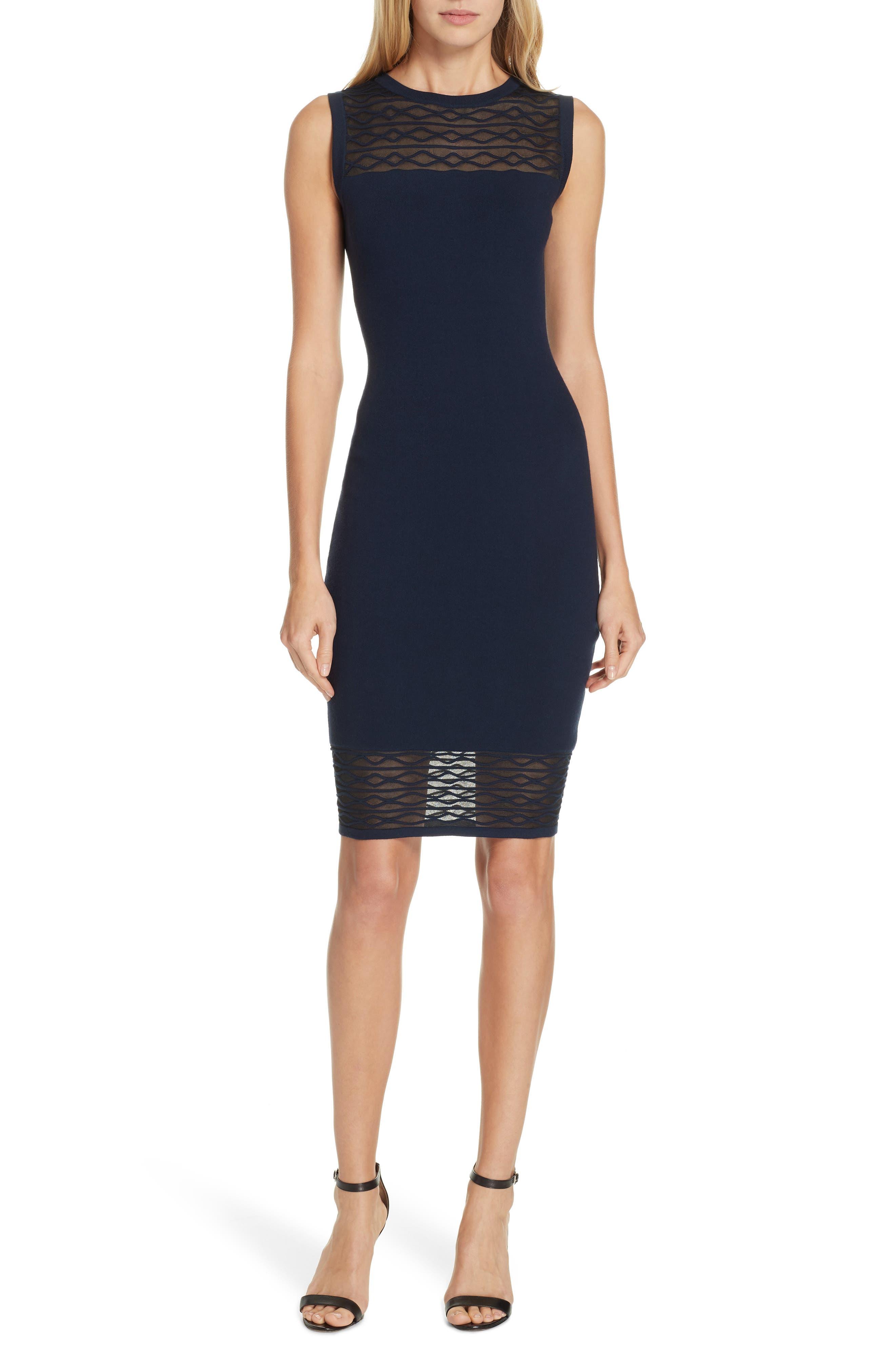 Milly Translucent Texture Sheath Dress, Blue