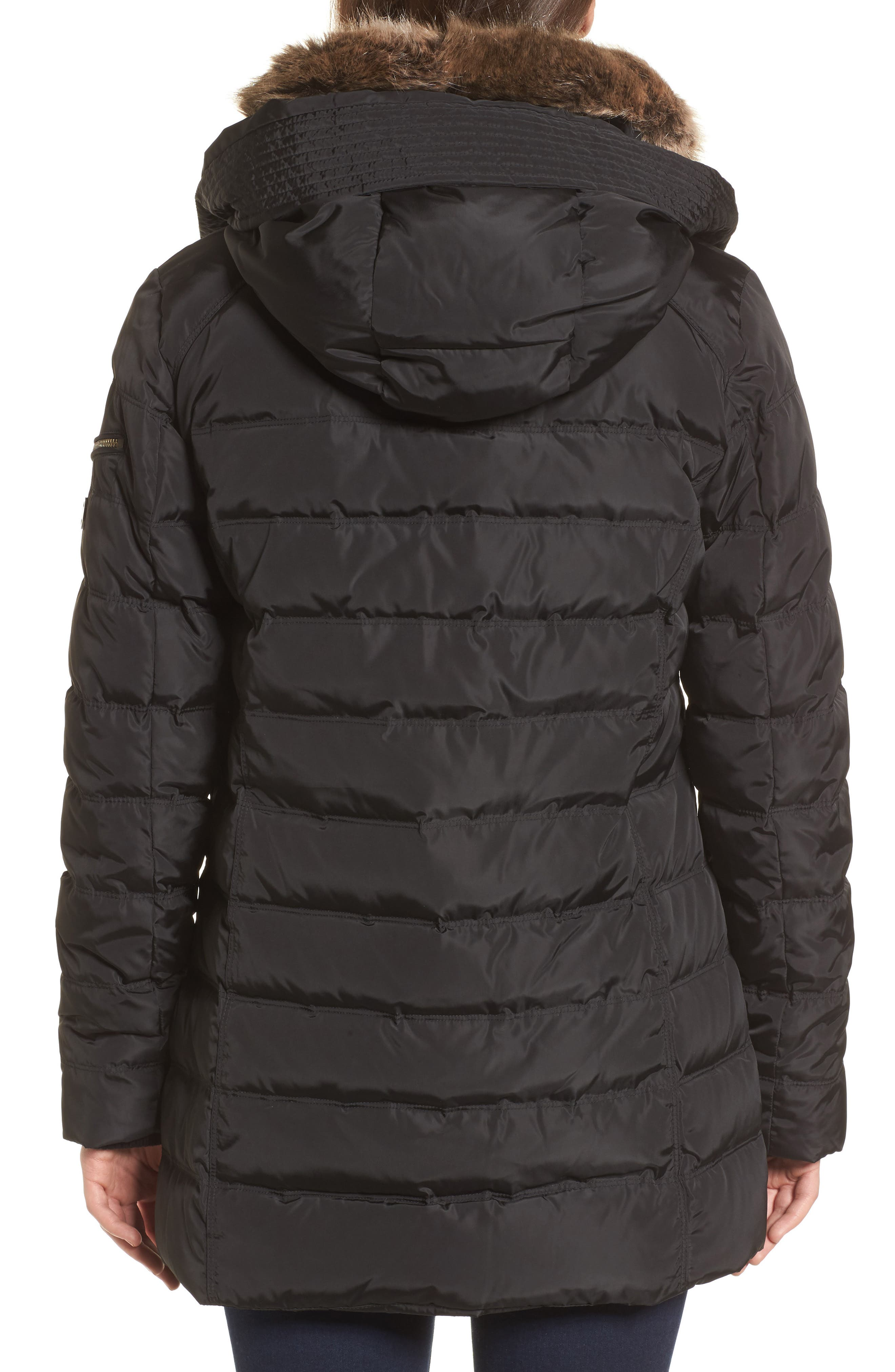Hooded Coat with Faux Fur Trim,                             Alternate thumbnail 2, color,                             001
