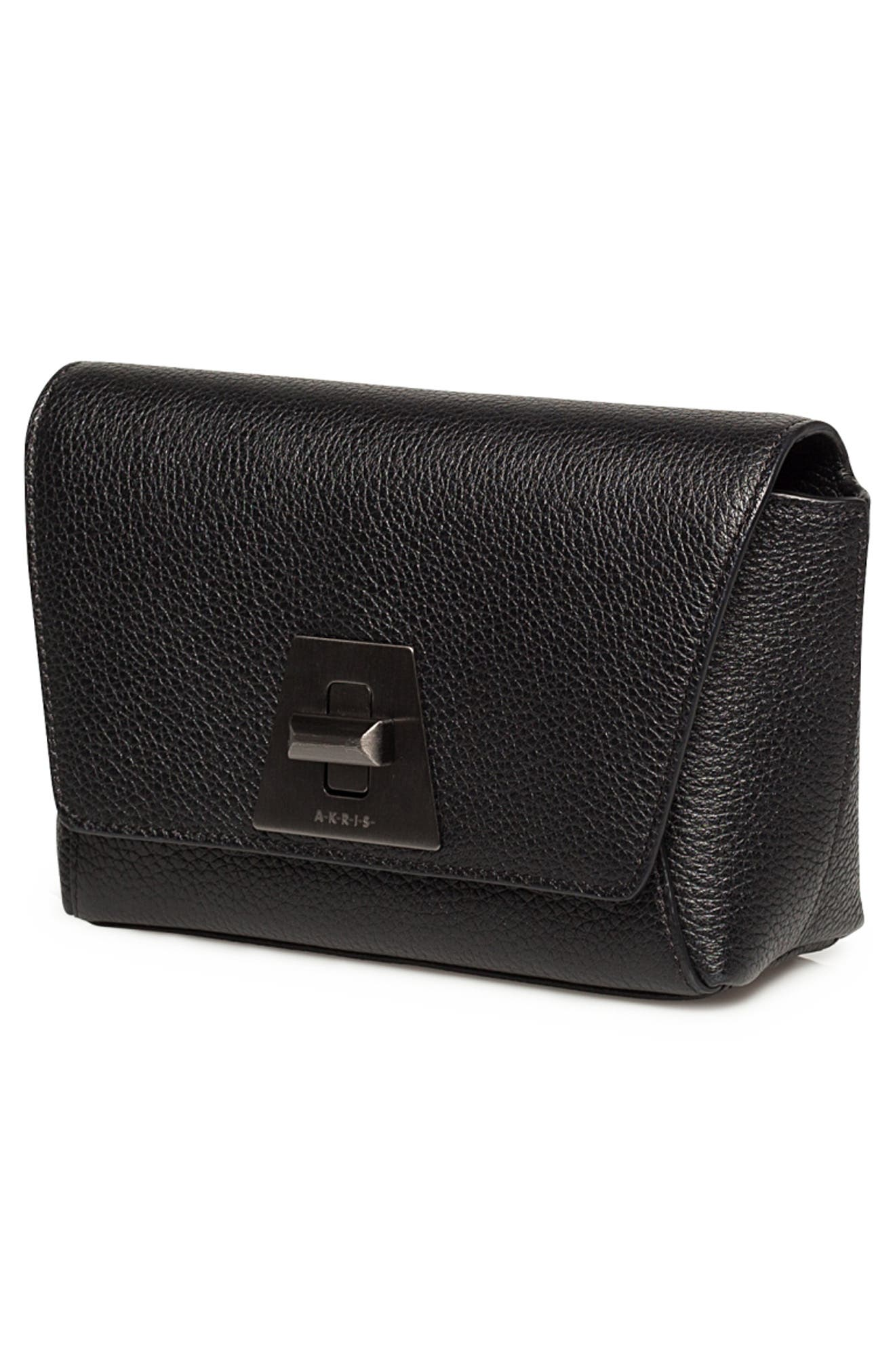 Little Anouk Leather Crossbody Bag,                             Alternate thumbnail 8, color,                             009 BLACK