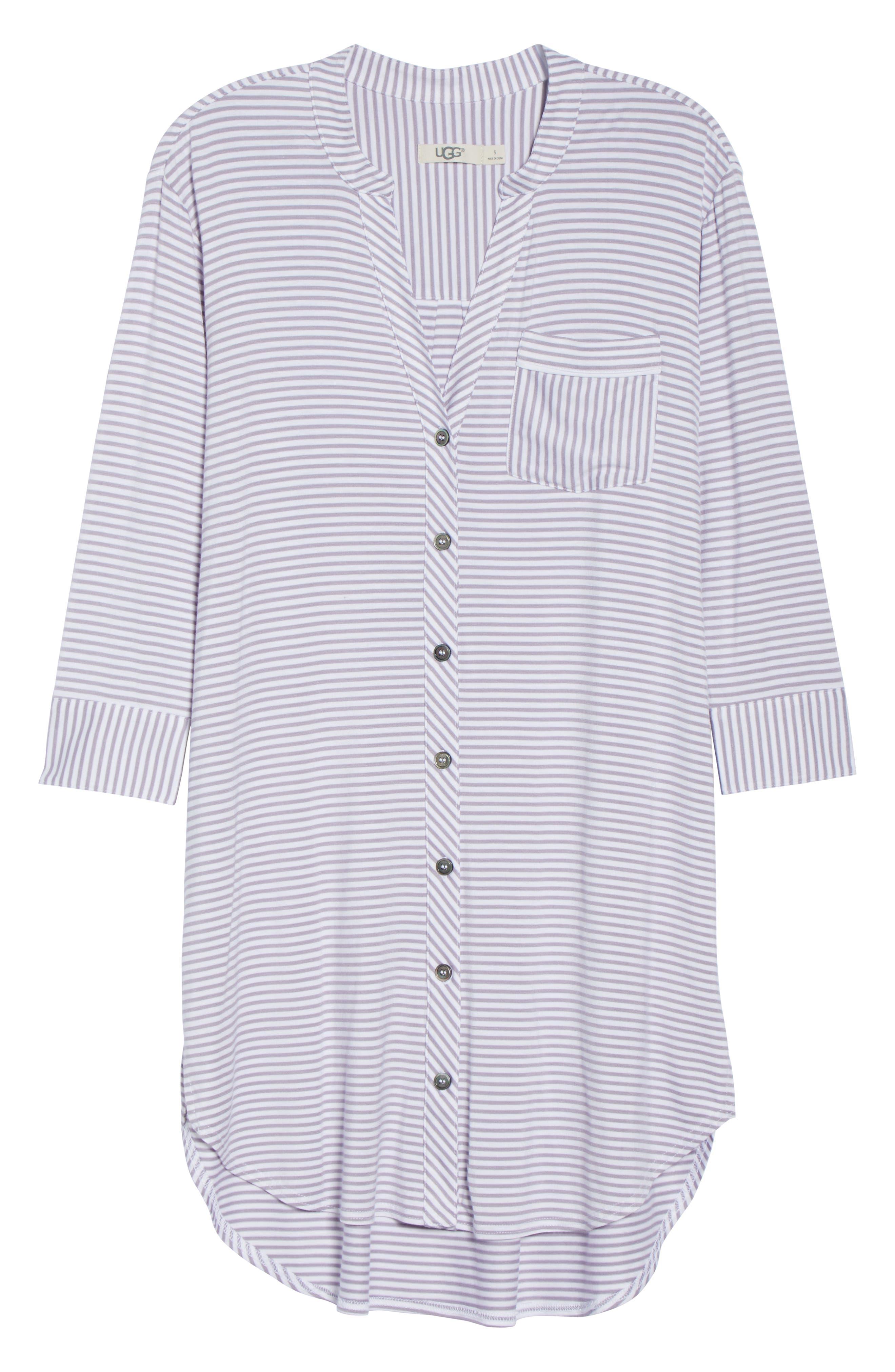 Vivian Sleep Shirt,                             Alternate thumbnail 6, color,                             LAVENDER AURA / WHITE STRIPE