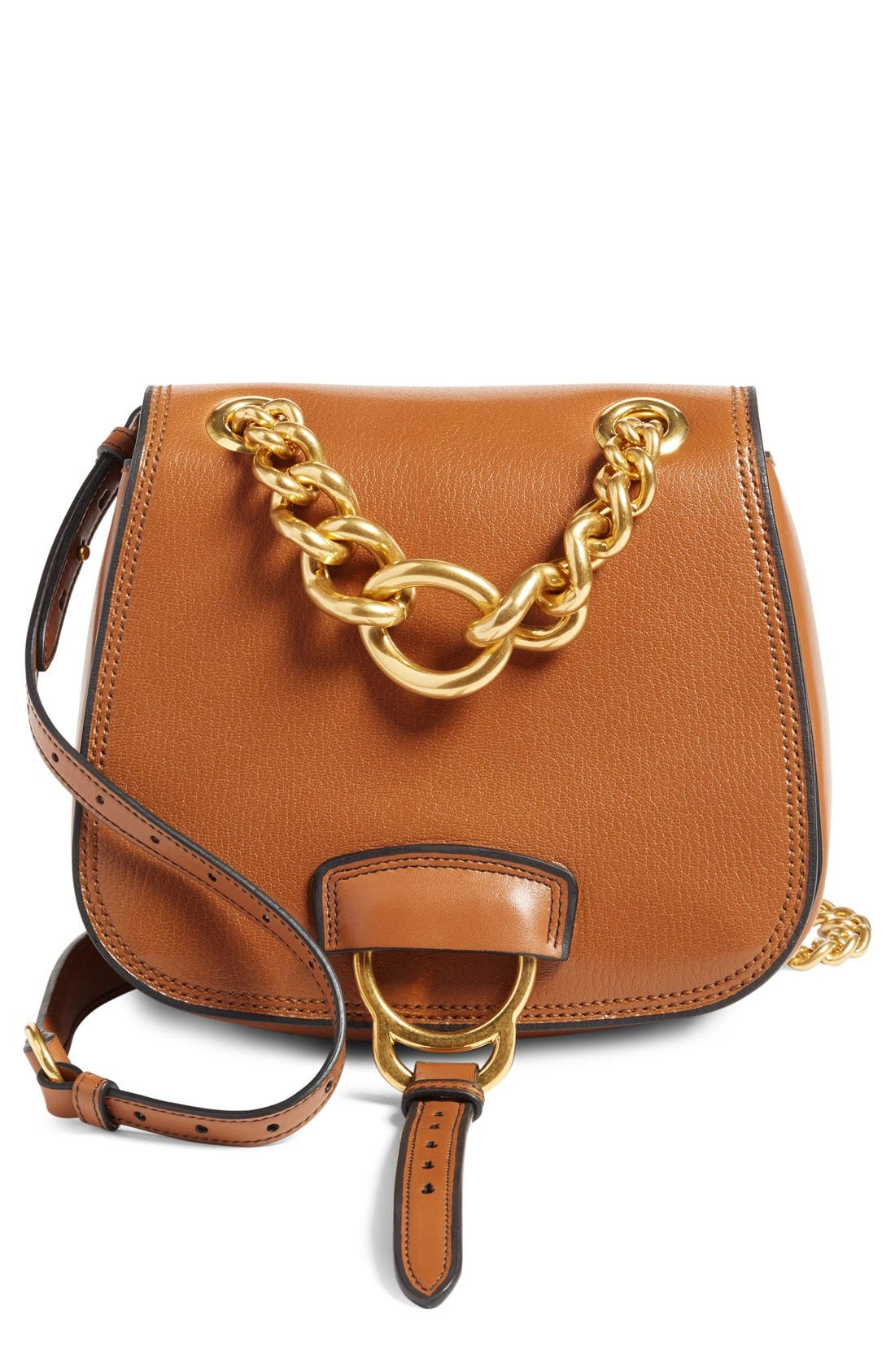 'Dahlia' Goatskin Leather Saddle Bag,                             Main thumbnail 2, color,