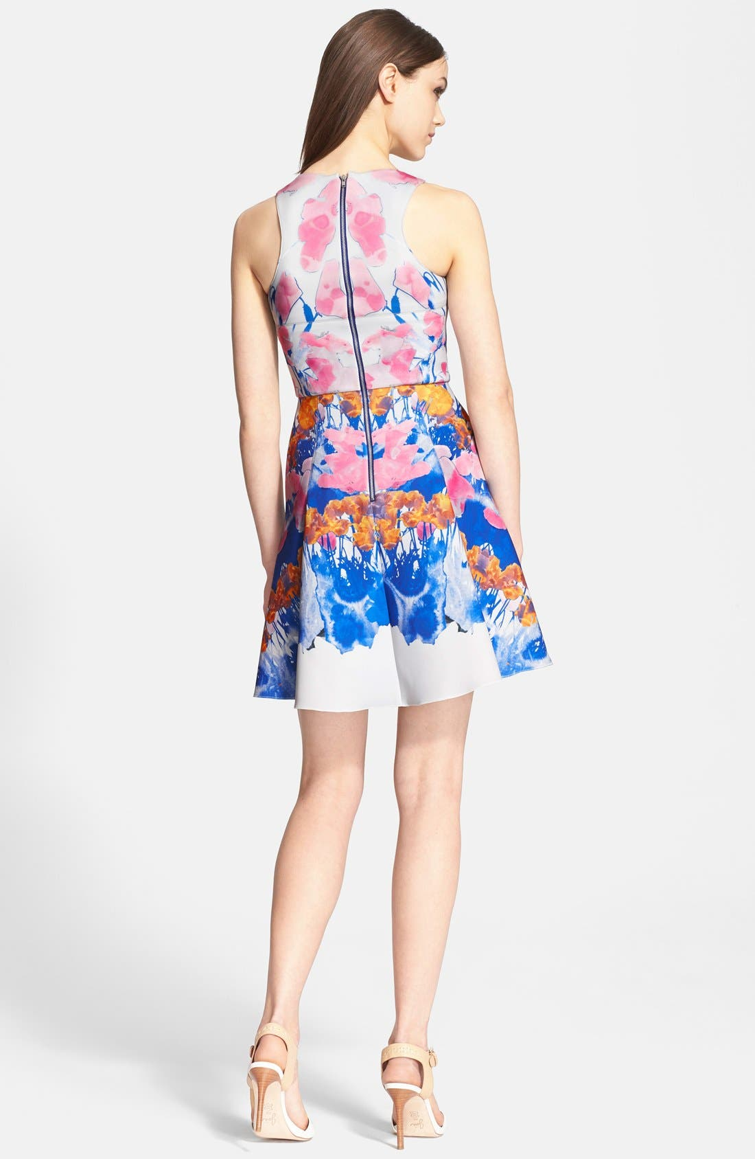 'Hannah' Print Scuba Knit Fit & Flares Dress,                             Alternate thumbnail 3, color,                             650