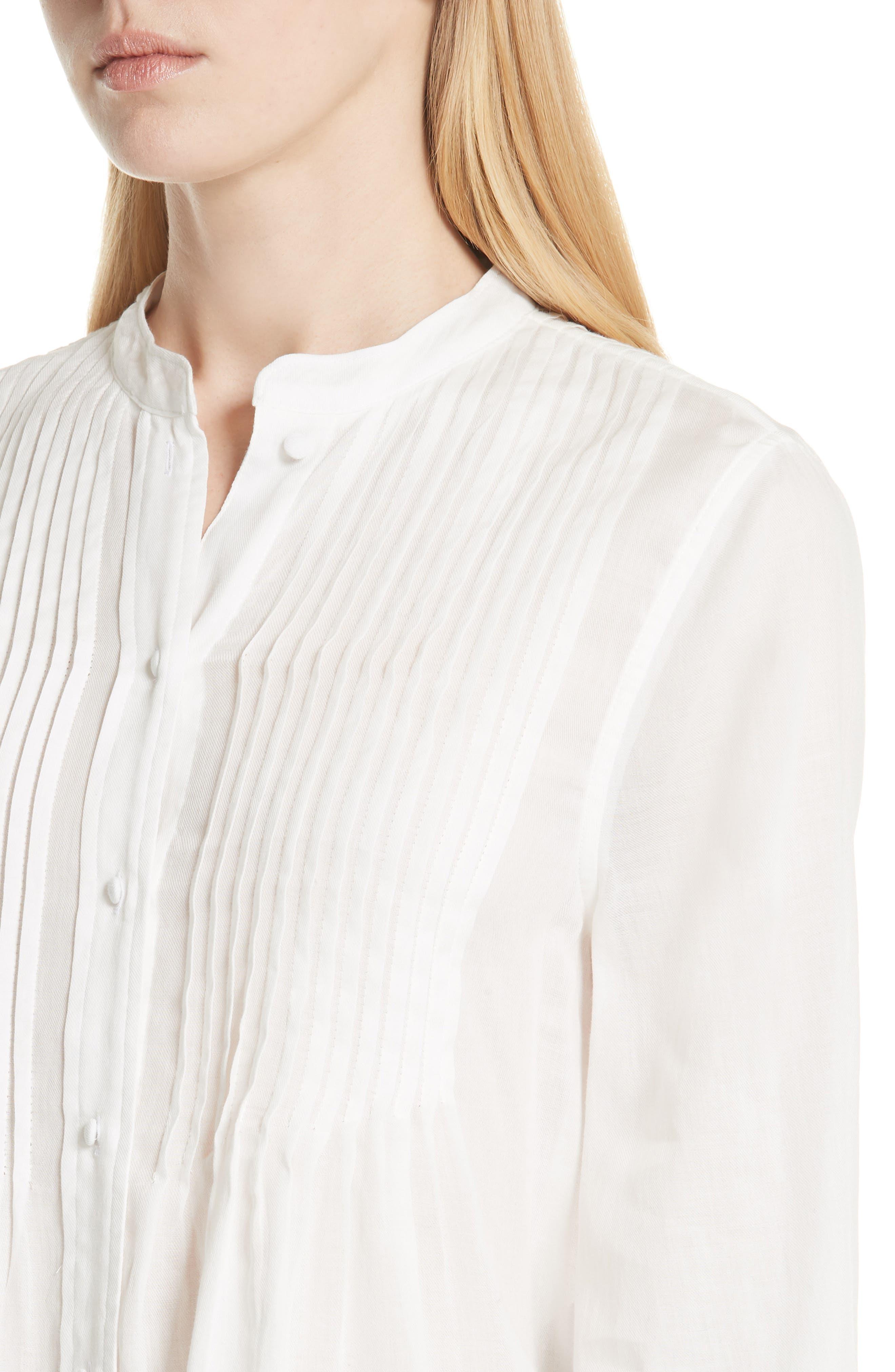 Vonzel Pintuck Cotton Top,                             Alternate thumbnail 4, color,                             120