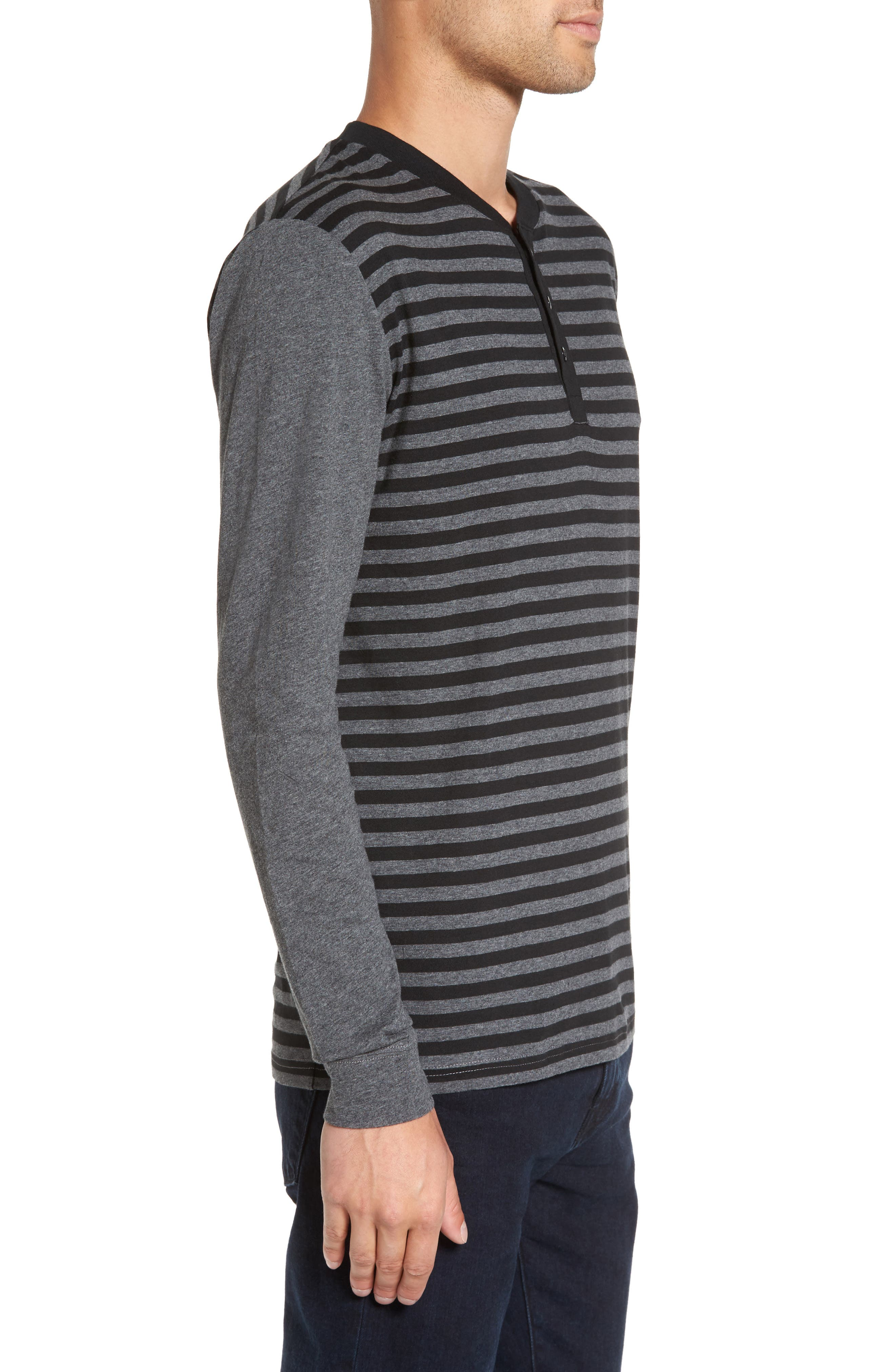 Striped Long Sleeve Henley T-Shirt,                             Alternate thumbnail 3, color,                             081