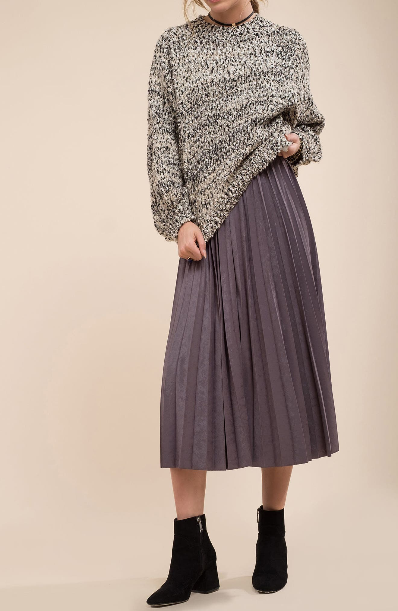 Pleated Faux Suede Midi Skirt,                             Alternate thumbnail 7, color,                             300
