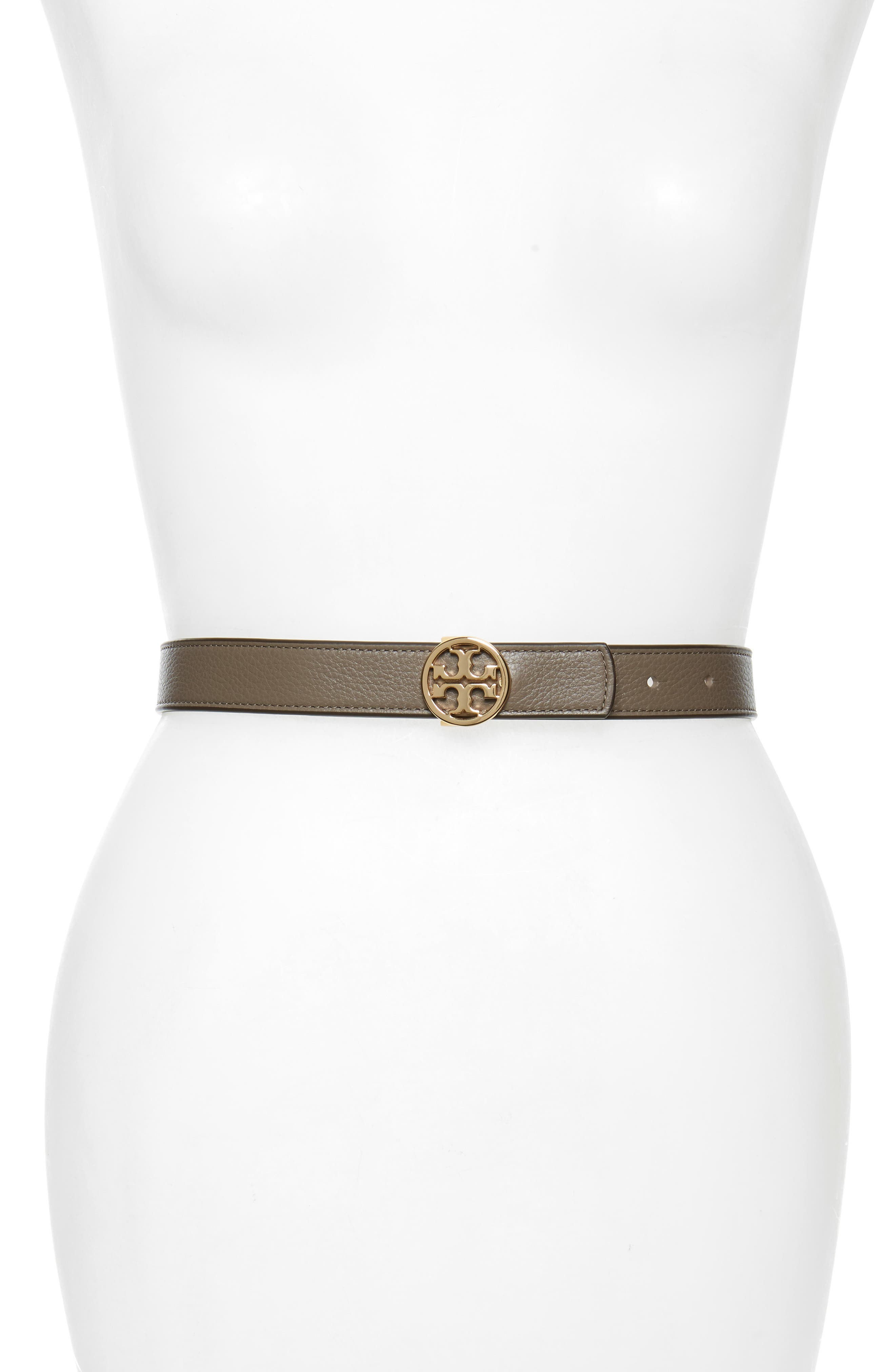 Tory Burch Reversible Logo Leather Belt, Silver Maple / Claret