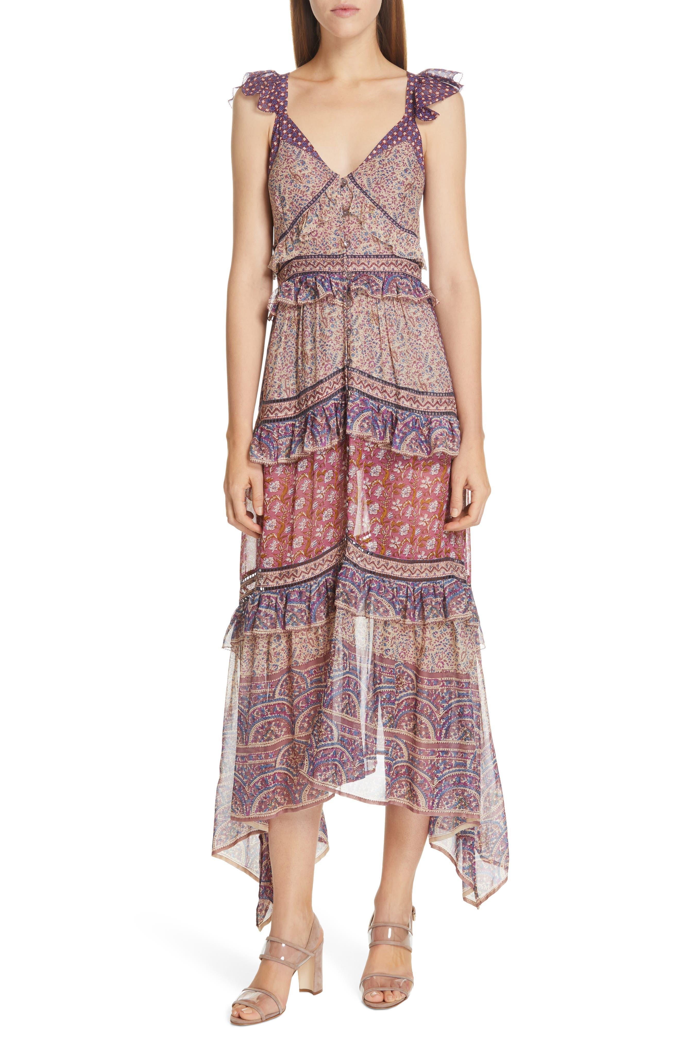 Sea Bella Floral Tiered Midi Dress, Purple
