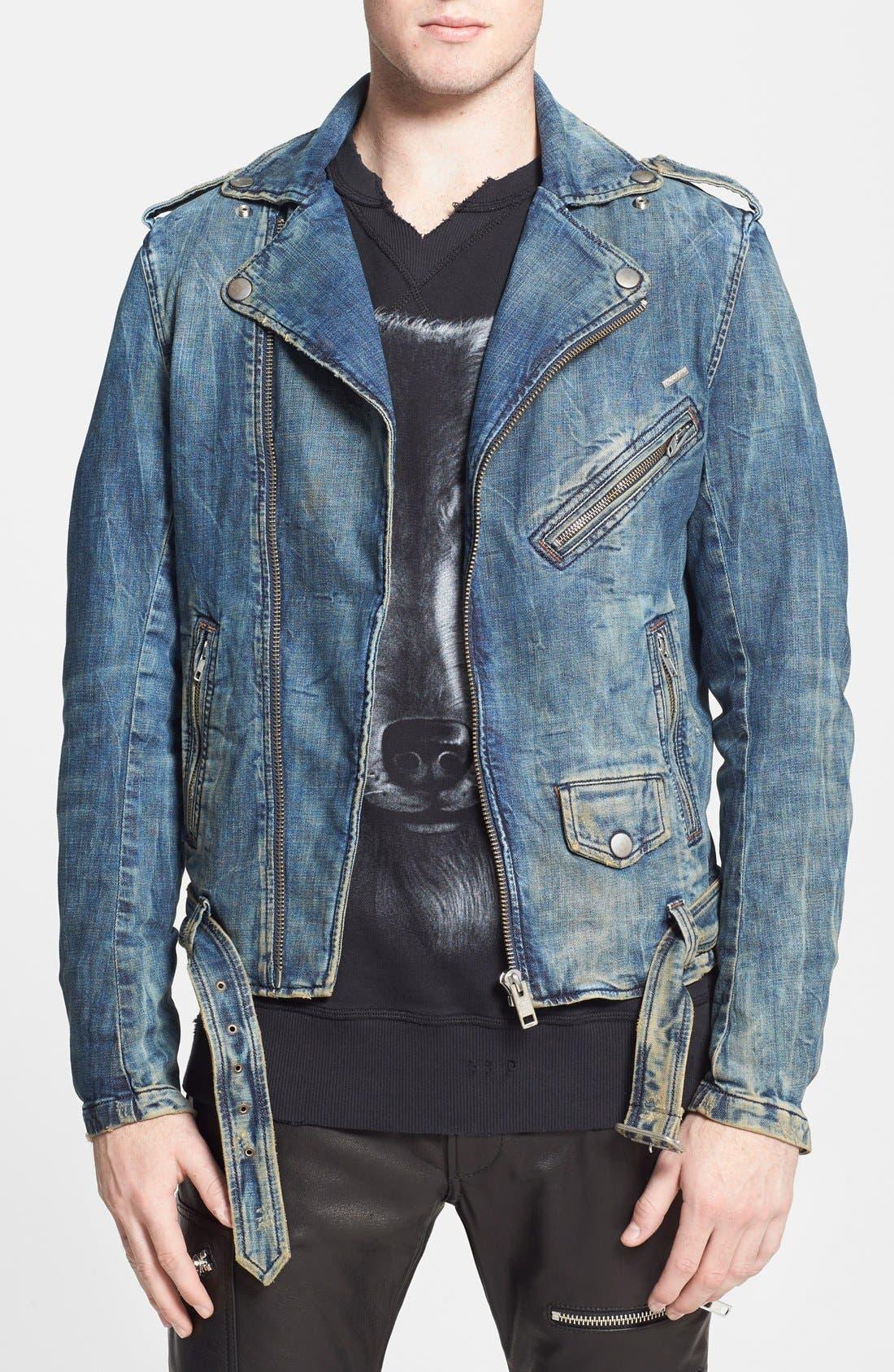 'Bhonzer' Denim Moto Jacket,                             Main thumbnail 1, color,                             400