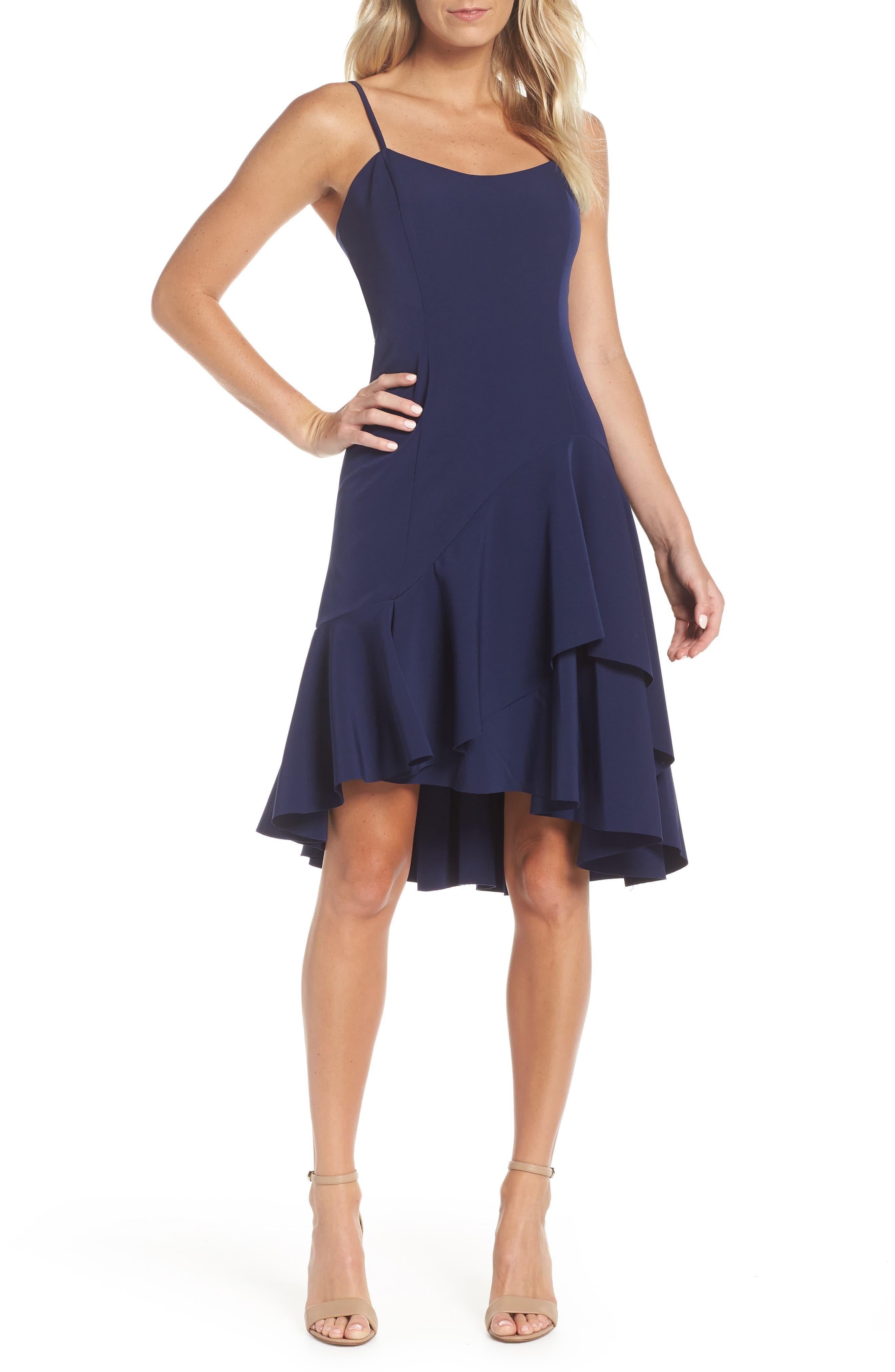High/Low Ruffle Hem Dress,                             Main thumbnail 1, color,                             410
