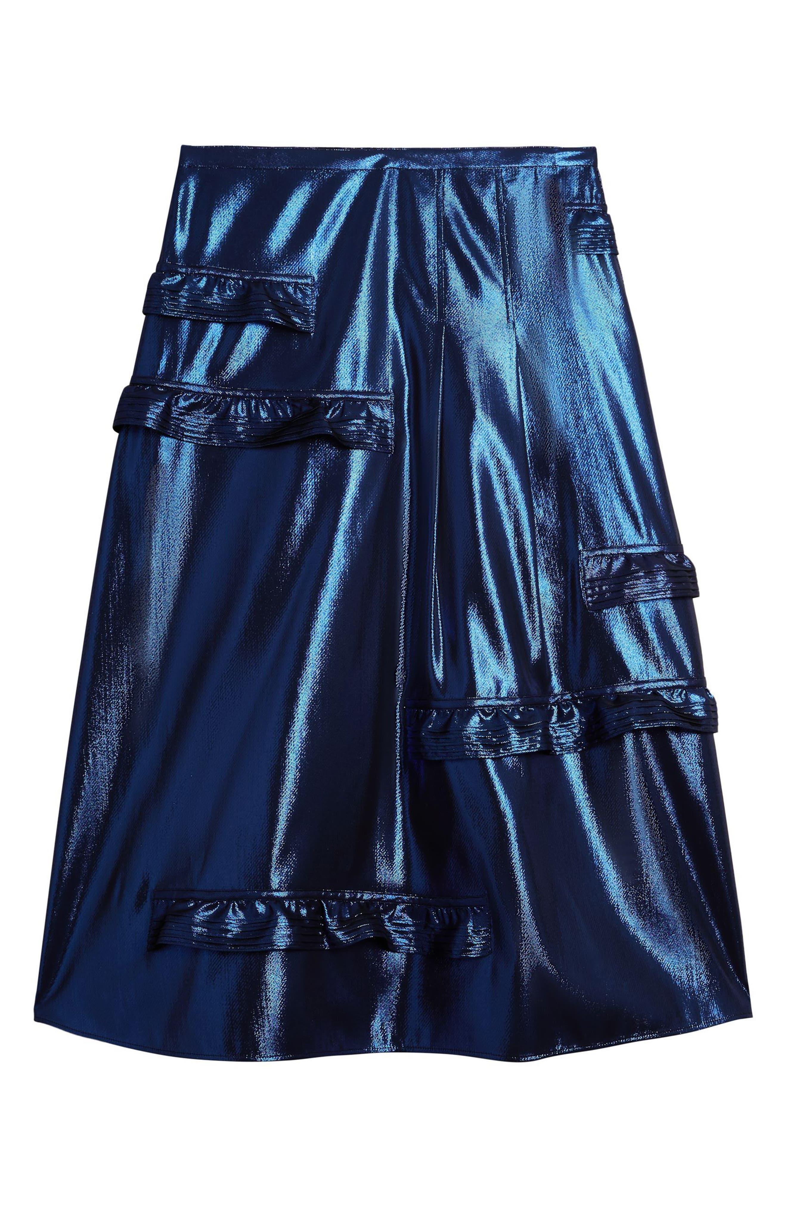 Merse Metallic Ruffle Skirt,                             Alternate thumbnail 4, color,                             410