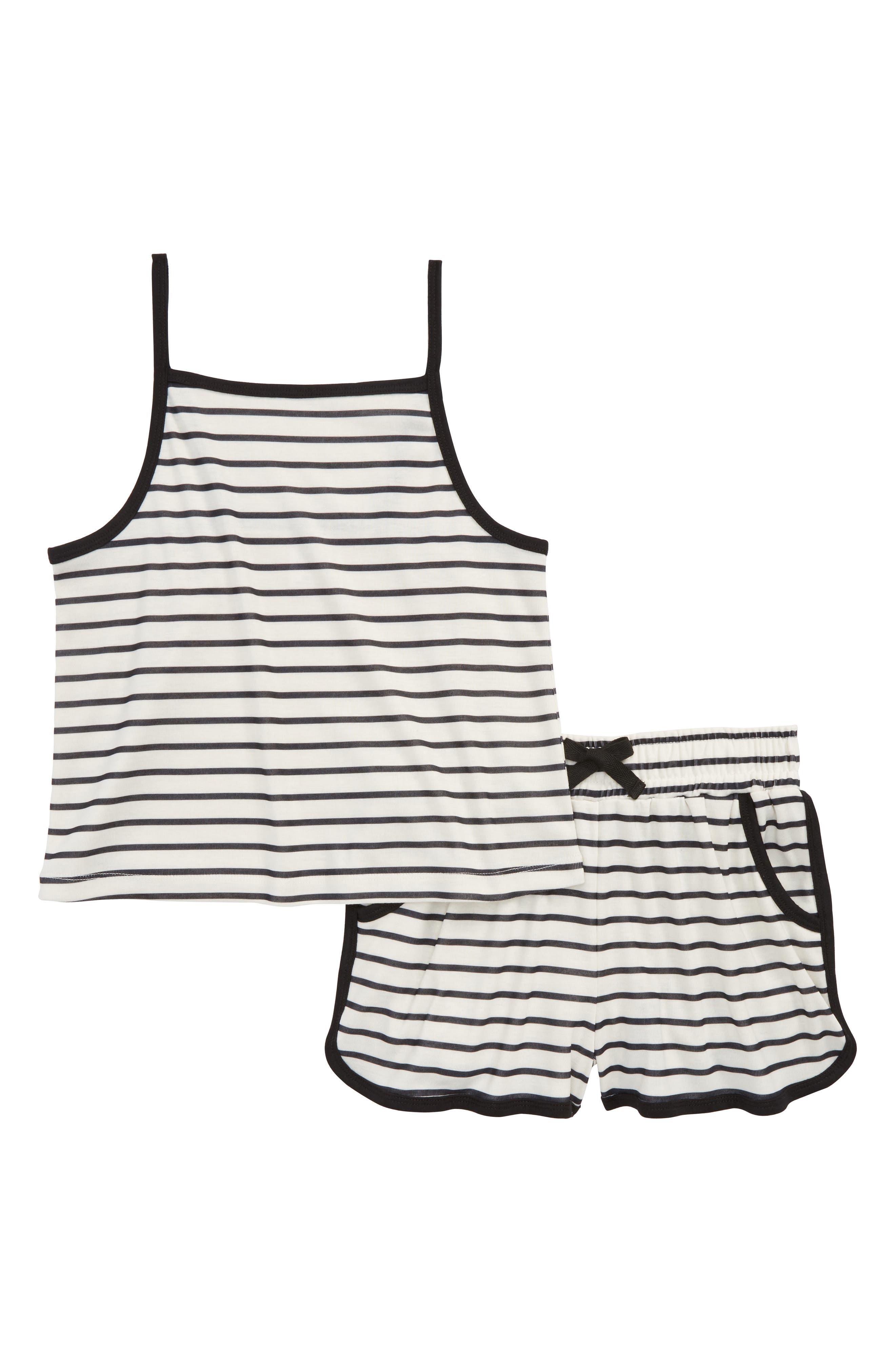 Stripe Two-Piece Pajamas Set,                             Main thumbnail 1, color,                             001