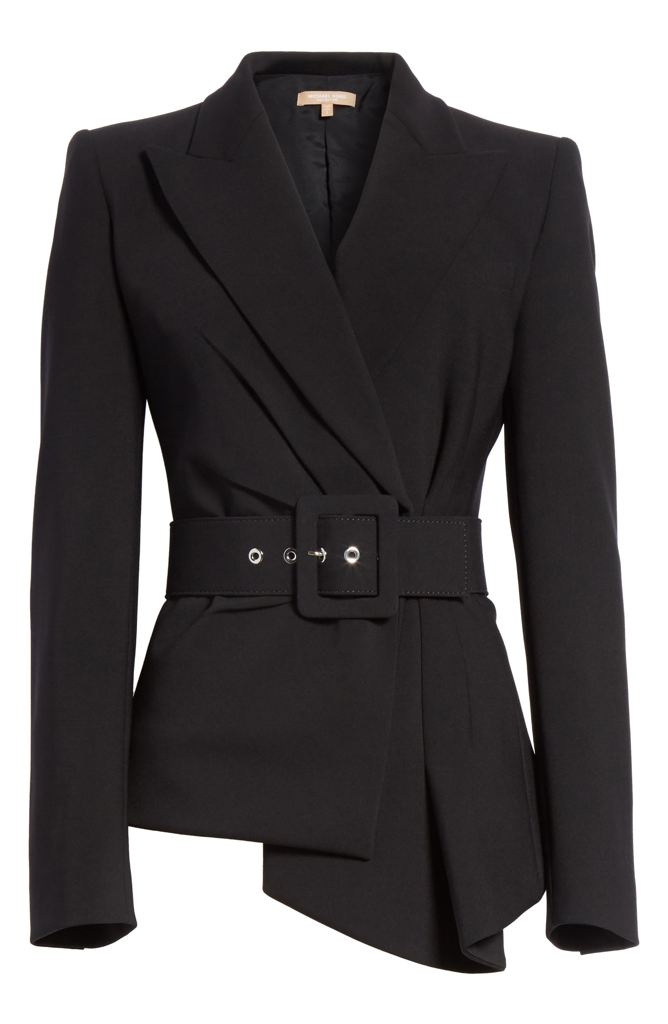 Belted Wool Blend Pebble Crepe Blazer,                             Alternate thumbnail 6, color,                             BLACK