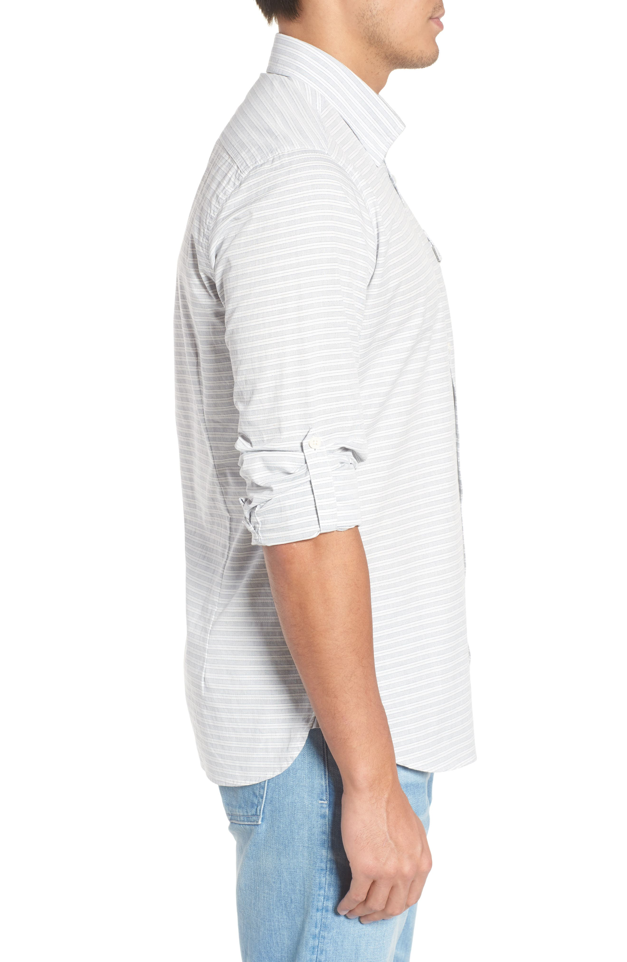 Huchen Regular Fit Stripe Sport Shirt,                             Alternate thumbnail 3, color,                             100