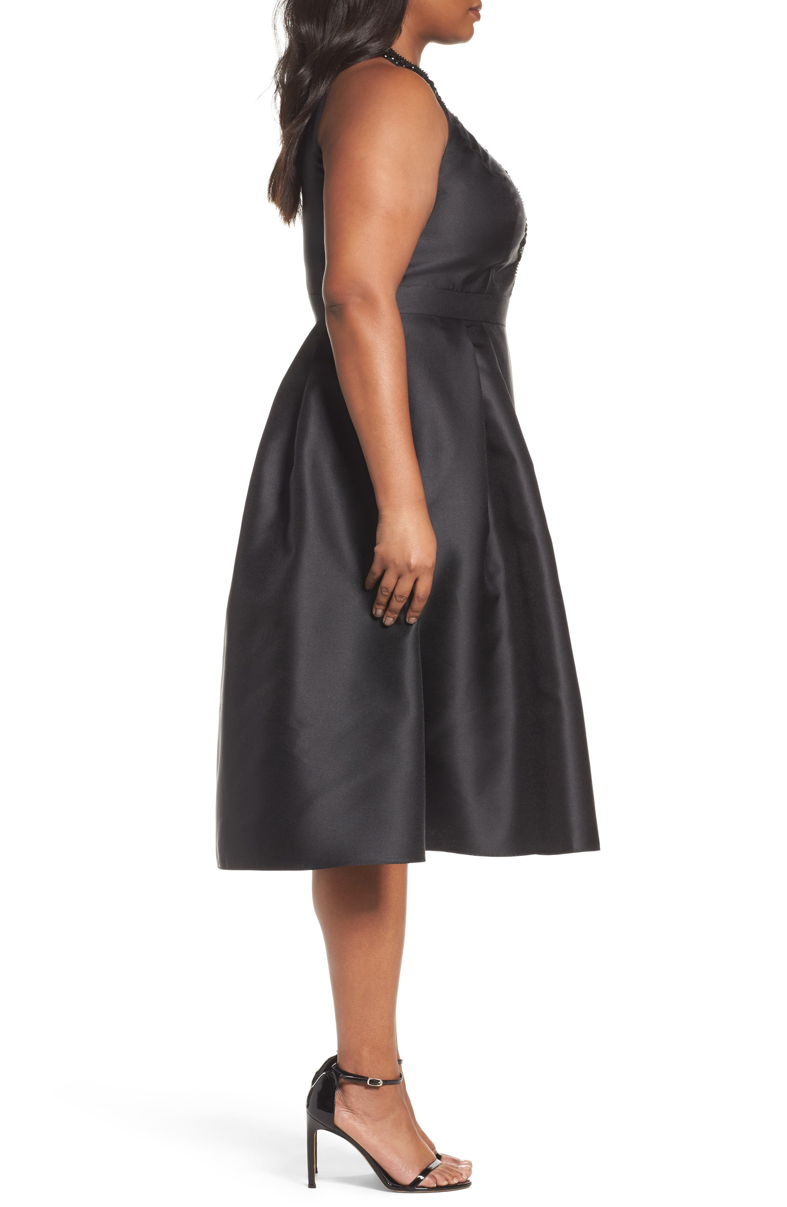Adriana Papell Beaded Fit & Flare Dress,                             Alternate thumbnail 3, color,                             002