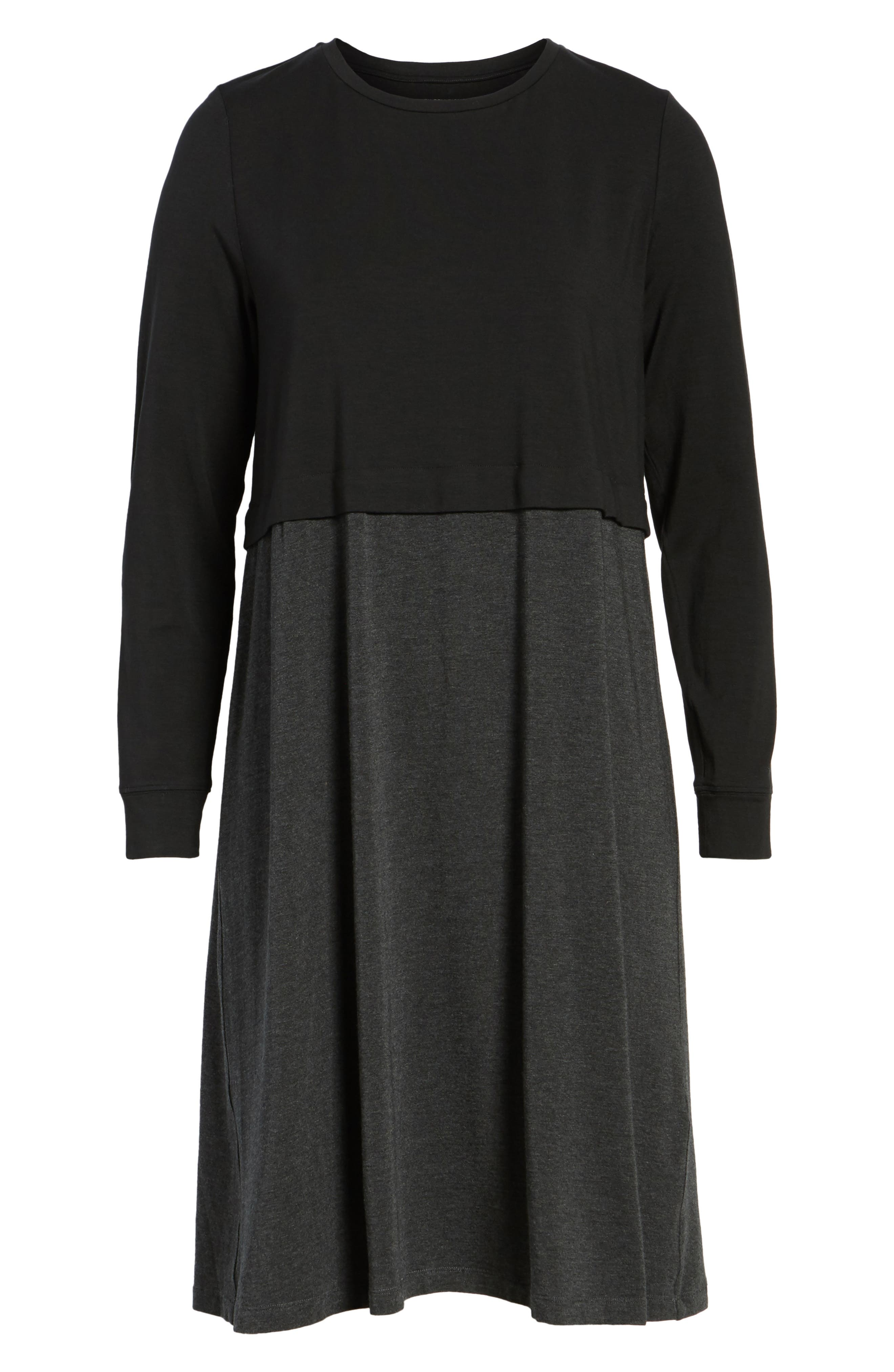 EILEEN FISHER,                             Stretch Tencel<sup>®</sup> A-Line Dress,                             Alternate thumbnail 7, color,                             010
