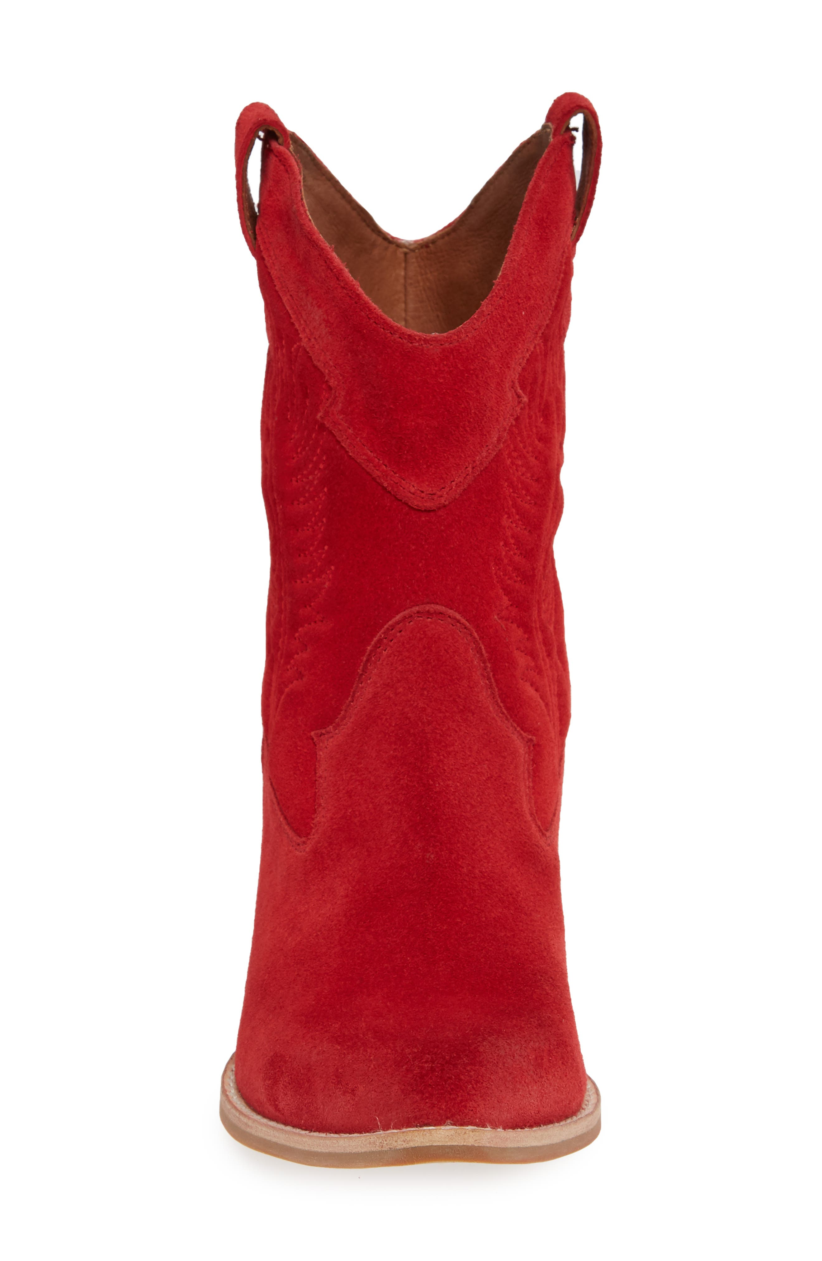 Calvera Western Boot,                             Alternate thumbnail 4, color,                             RED SUEDE