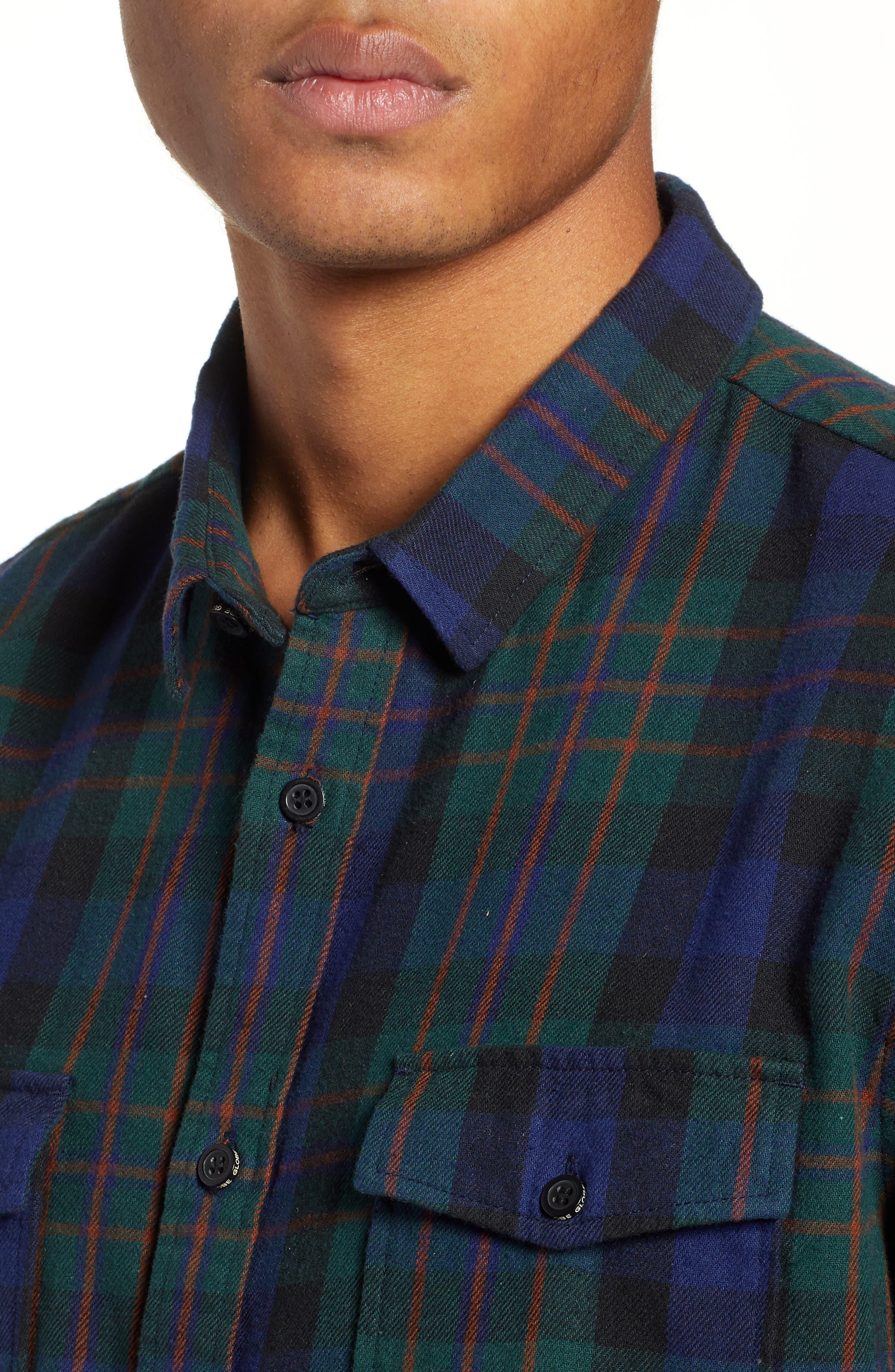 Flanigan Woven Shirt,                             Alternate thumbnail 4, color,                             BOTTLE GREEN