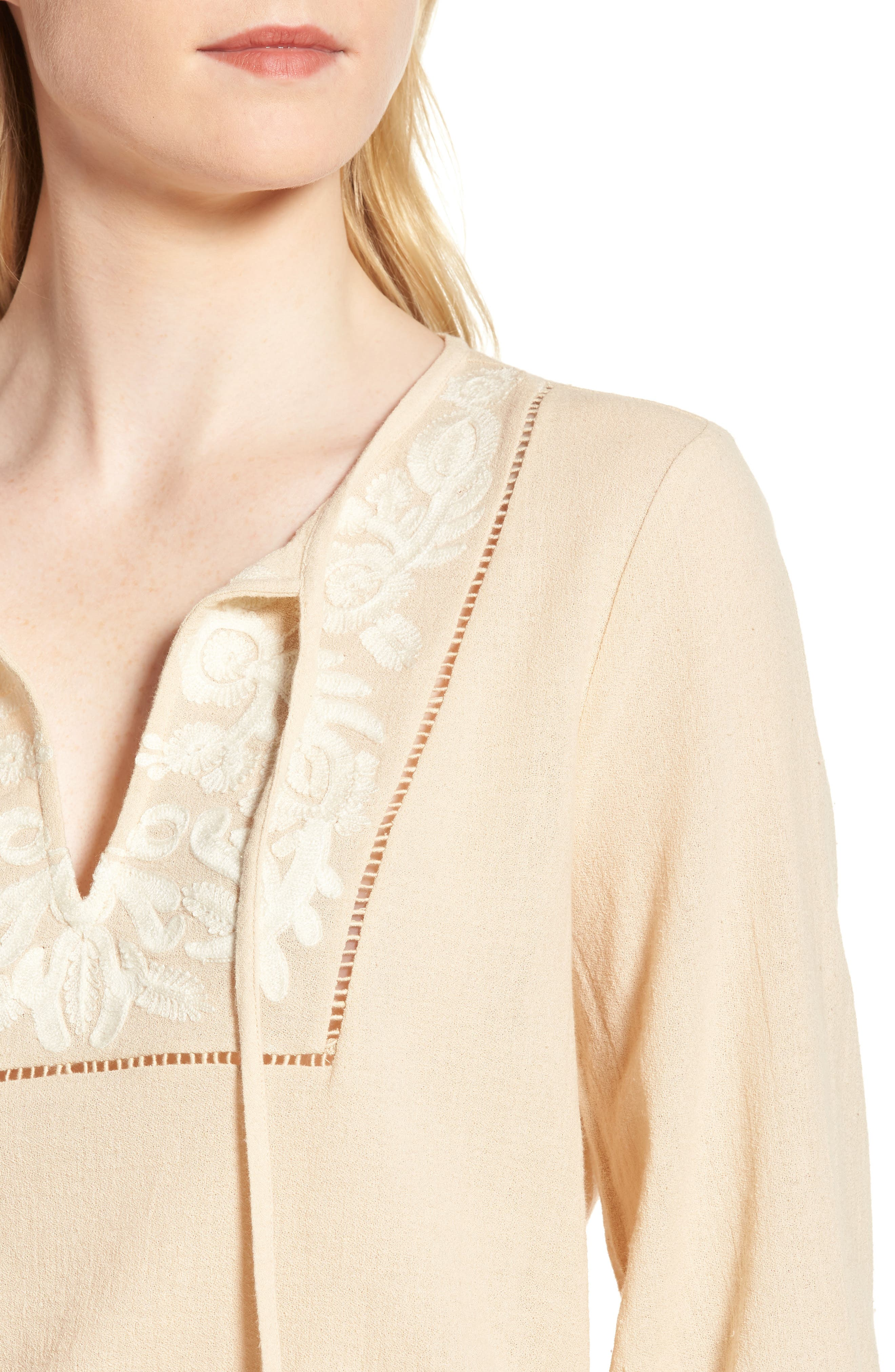 Embroidered Cotton Tassel Top,                             Alternate thumbnail 8, color,