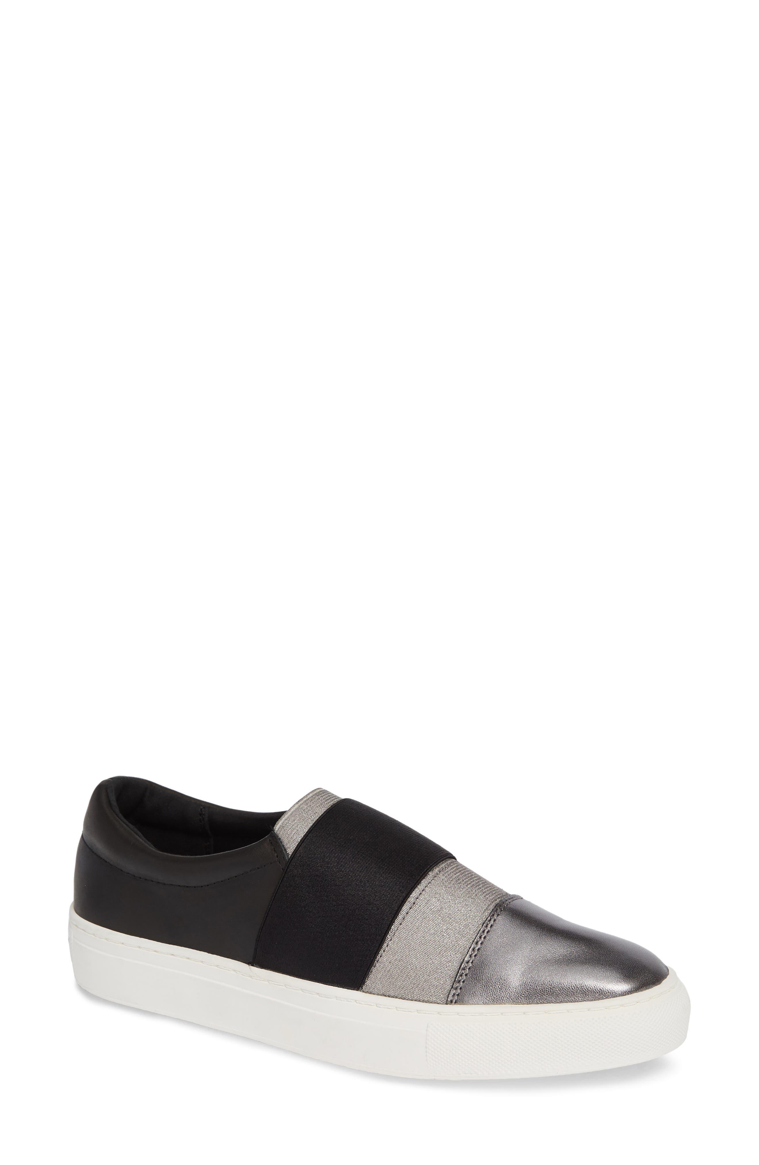 Isla Slip-On Sneaker,                         Main,                         color, GUNMETAL/ BLACK LEATHER