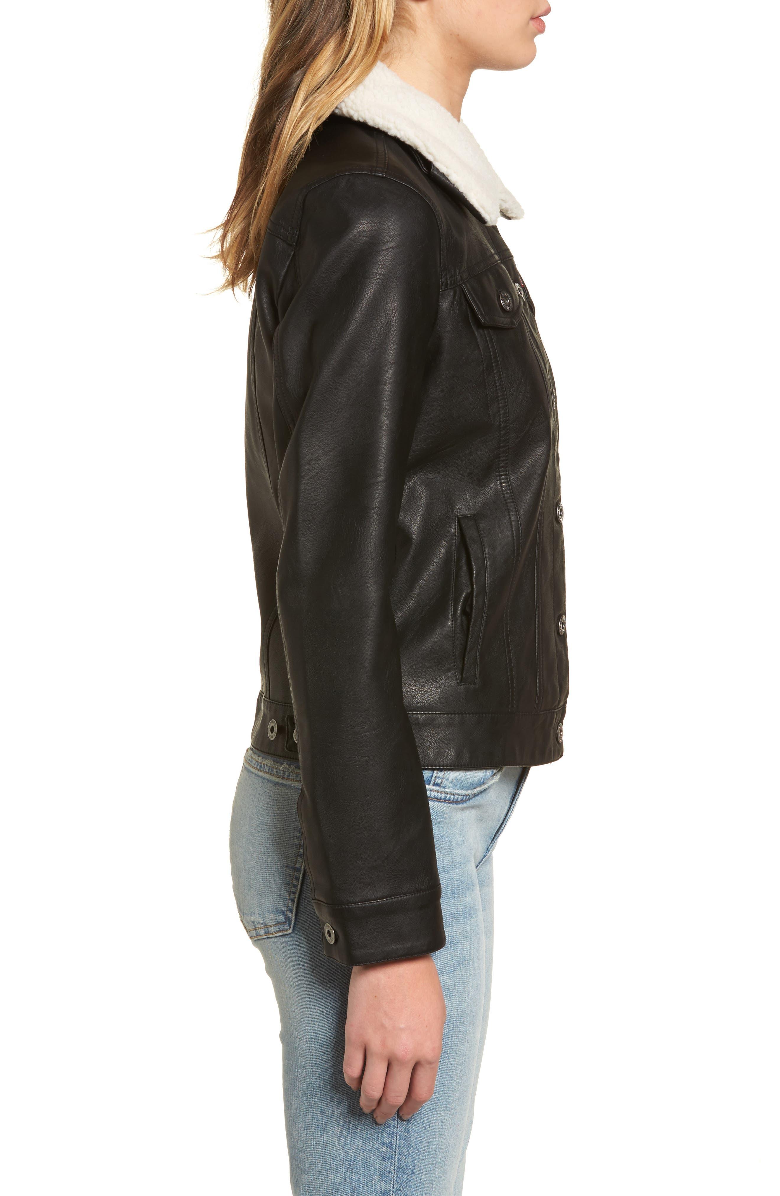 Faux Leather Jacket with Detachable Faux Fur,                             Alternate thumbnail 3, color,