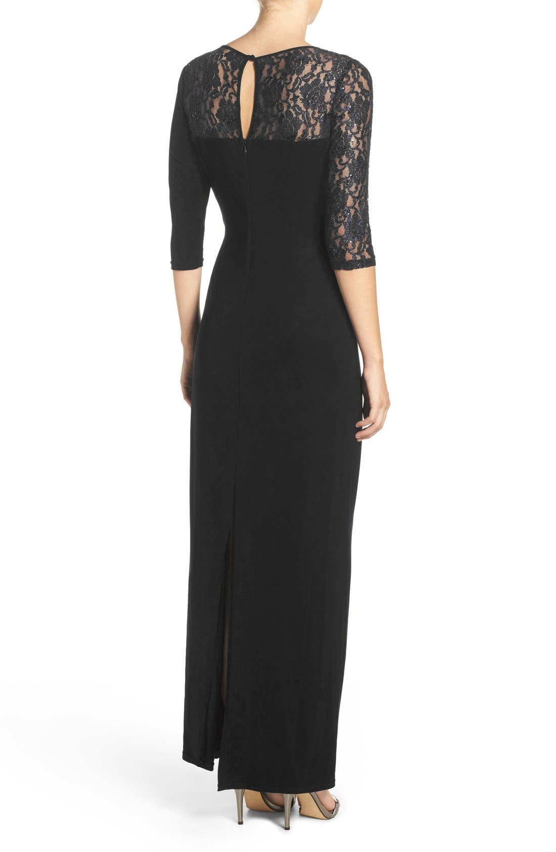 Sequin Lace & Jersey Gown,                             Alternate thumbnail 2, color,                             001