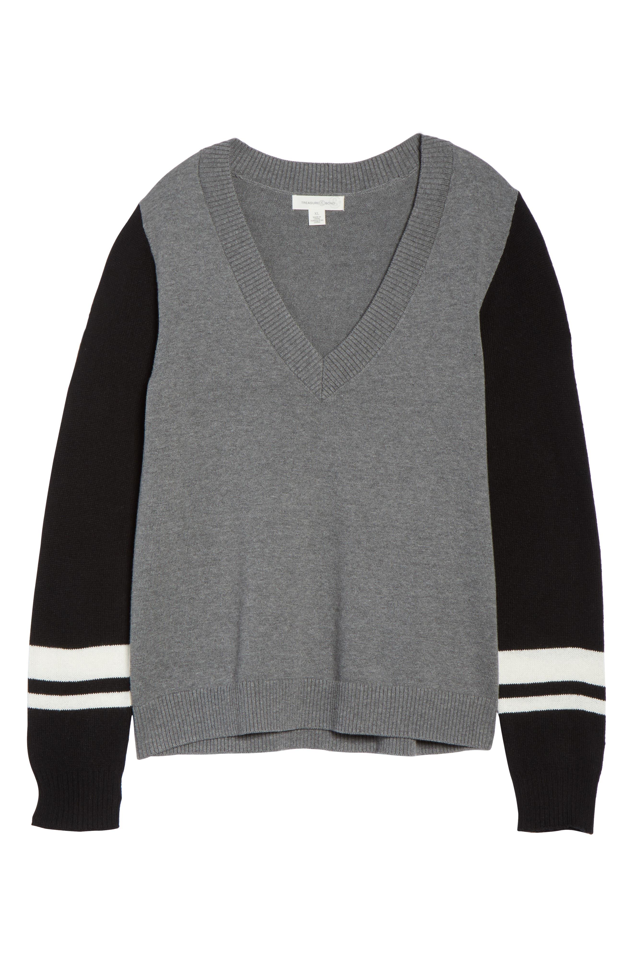Stripe V-Neck Sweater,                             Alternate thumbnail 12, color,                             GREY HEATHER COMBO