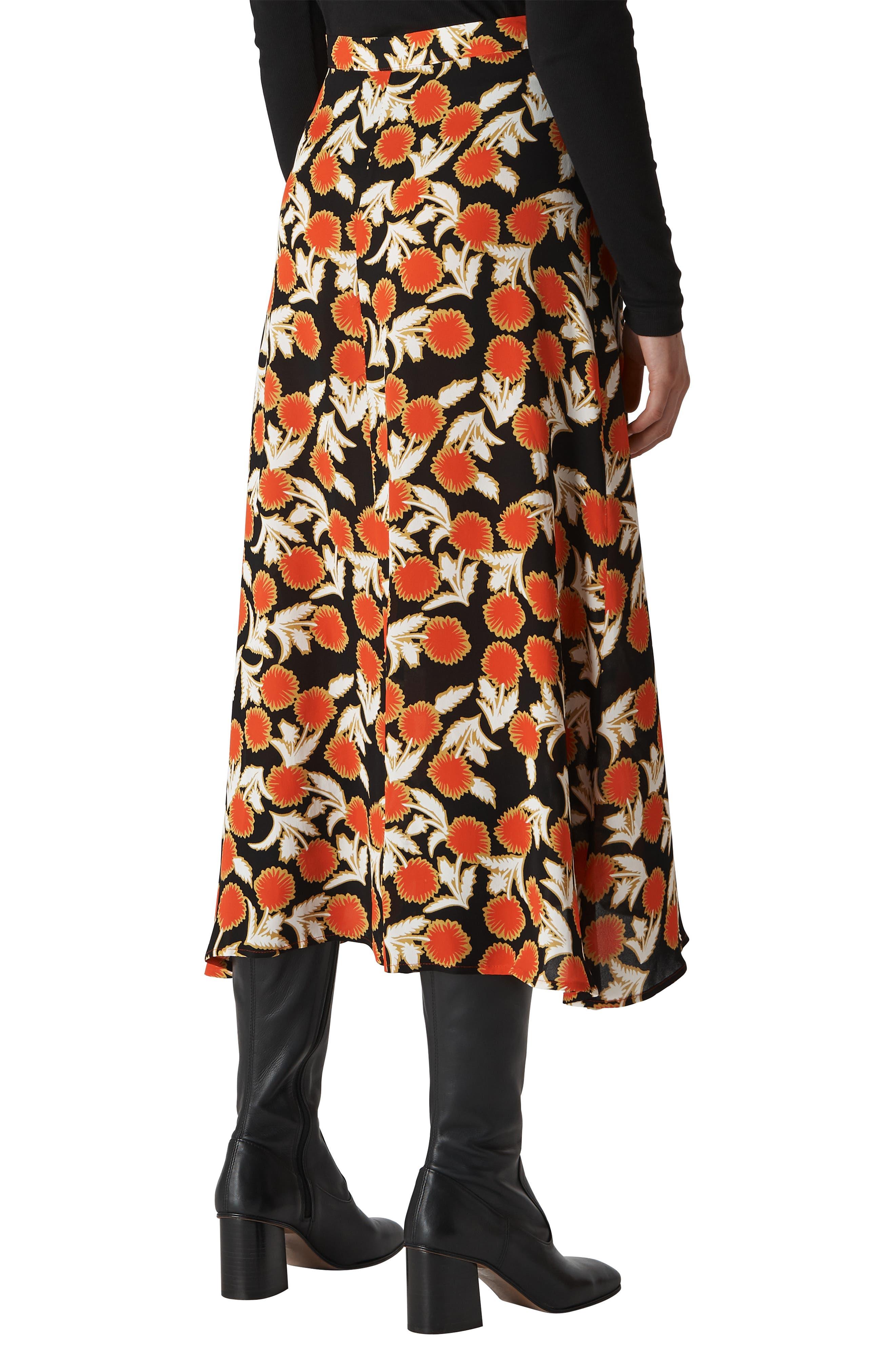 Dandelion Print Maxi Skirt,                             Alternate thumbnail 2, color,                             MULTICOLOUR