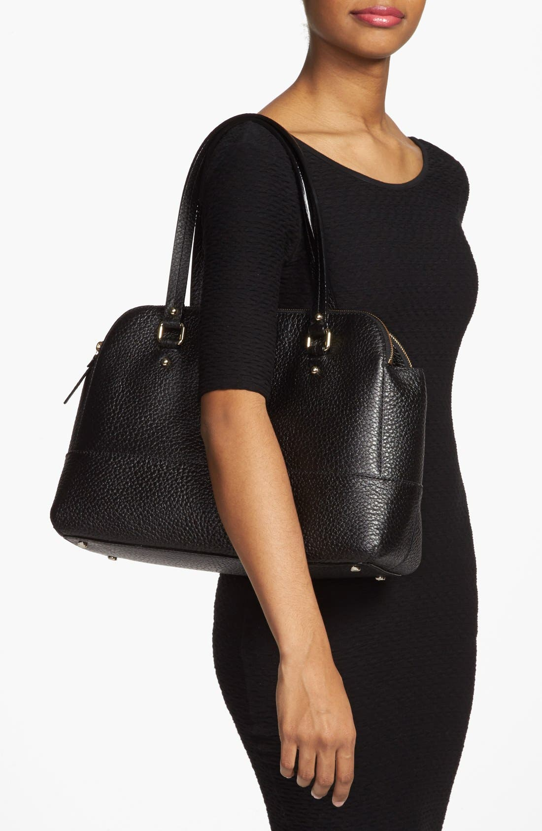 'grove court - lainey' leather tote,                             Alternate thumbnail 4, color,                             001