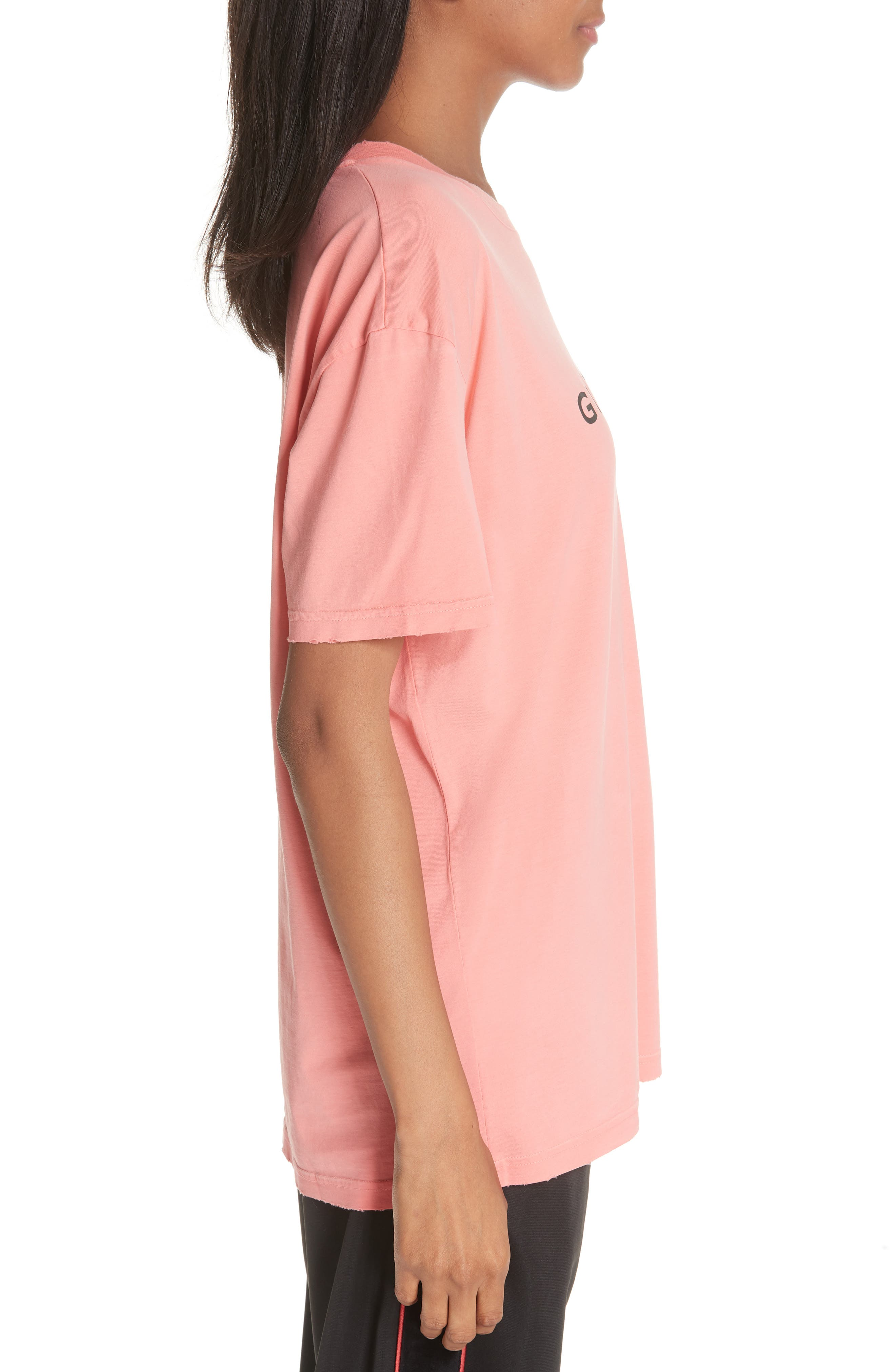 GIVENCHY,                             Distressed Logo Tee,                             Alternate thumbnail 3, color,                             CORAL