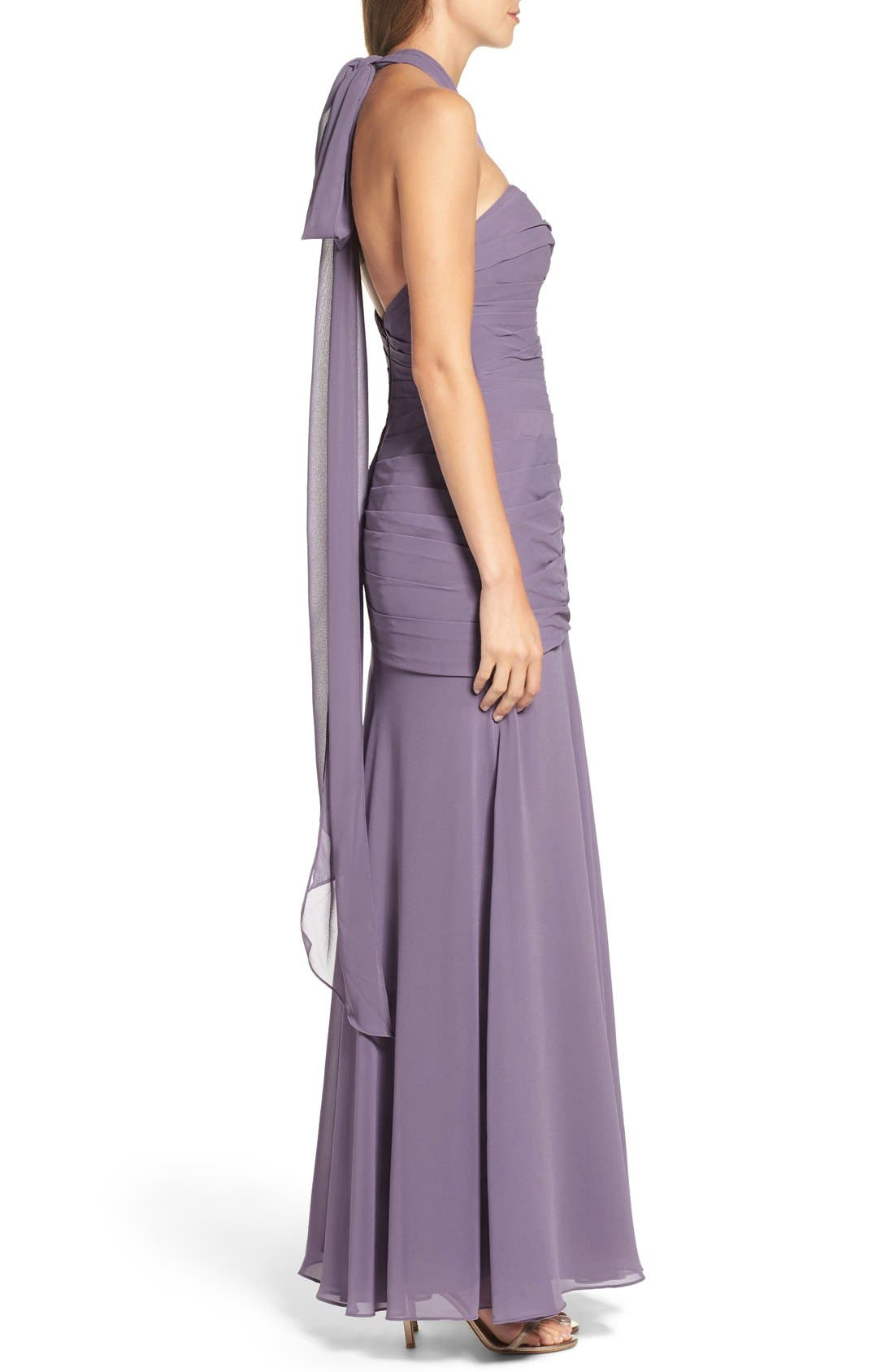 Chiffon Halter Gown,                             Alternate thumbnail 7, color,