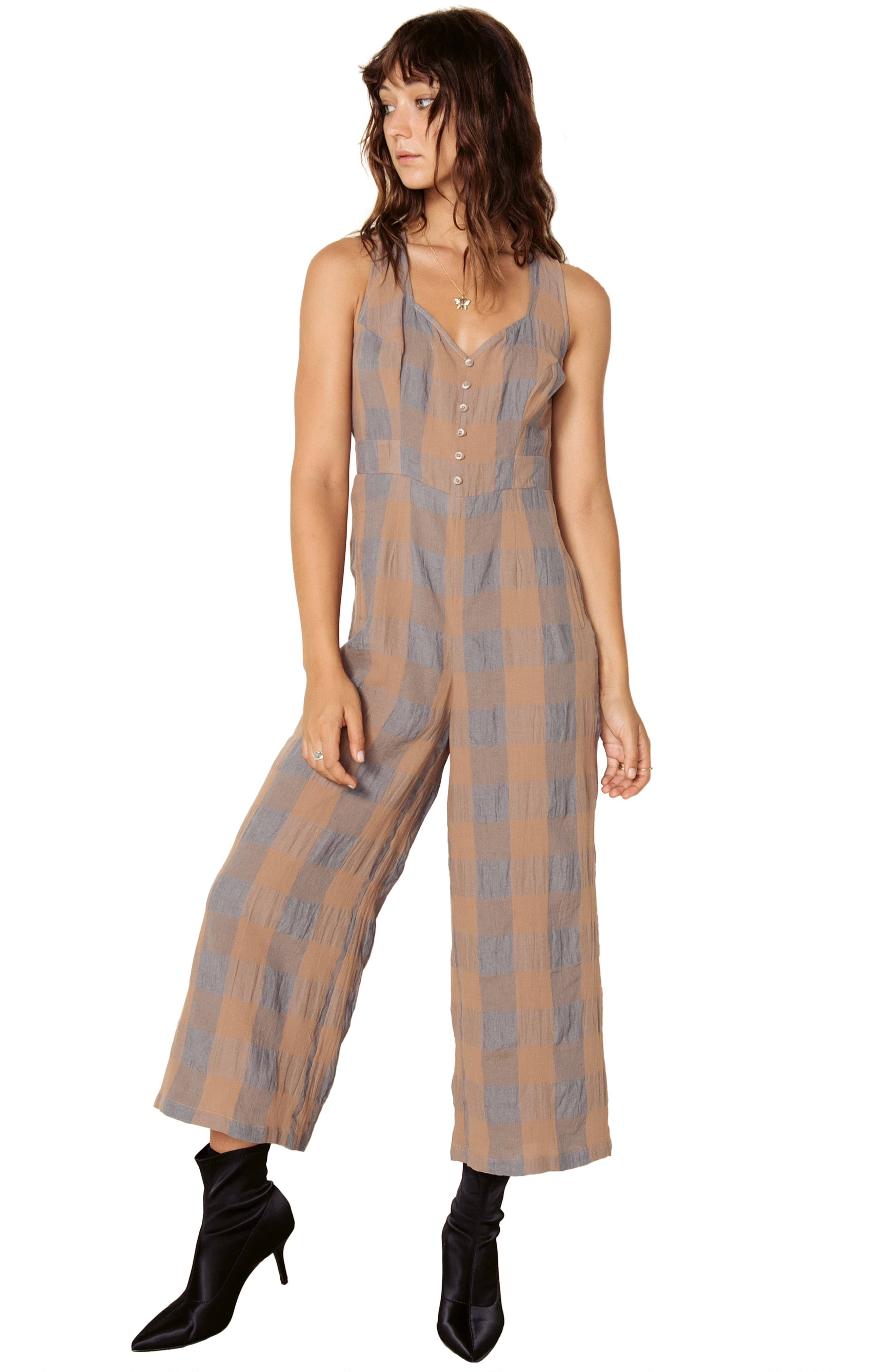 Frankie Check Linen Blend Jumpsuit,                             Alternate thumbnail 10, color,                             SMOKE AND BISCUIT