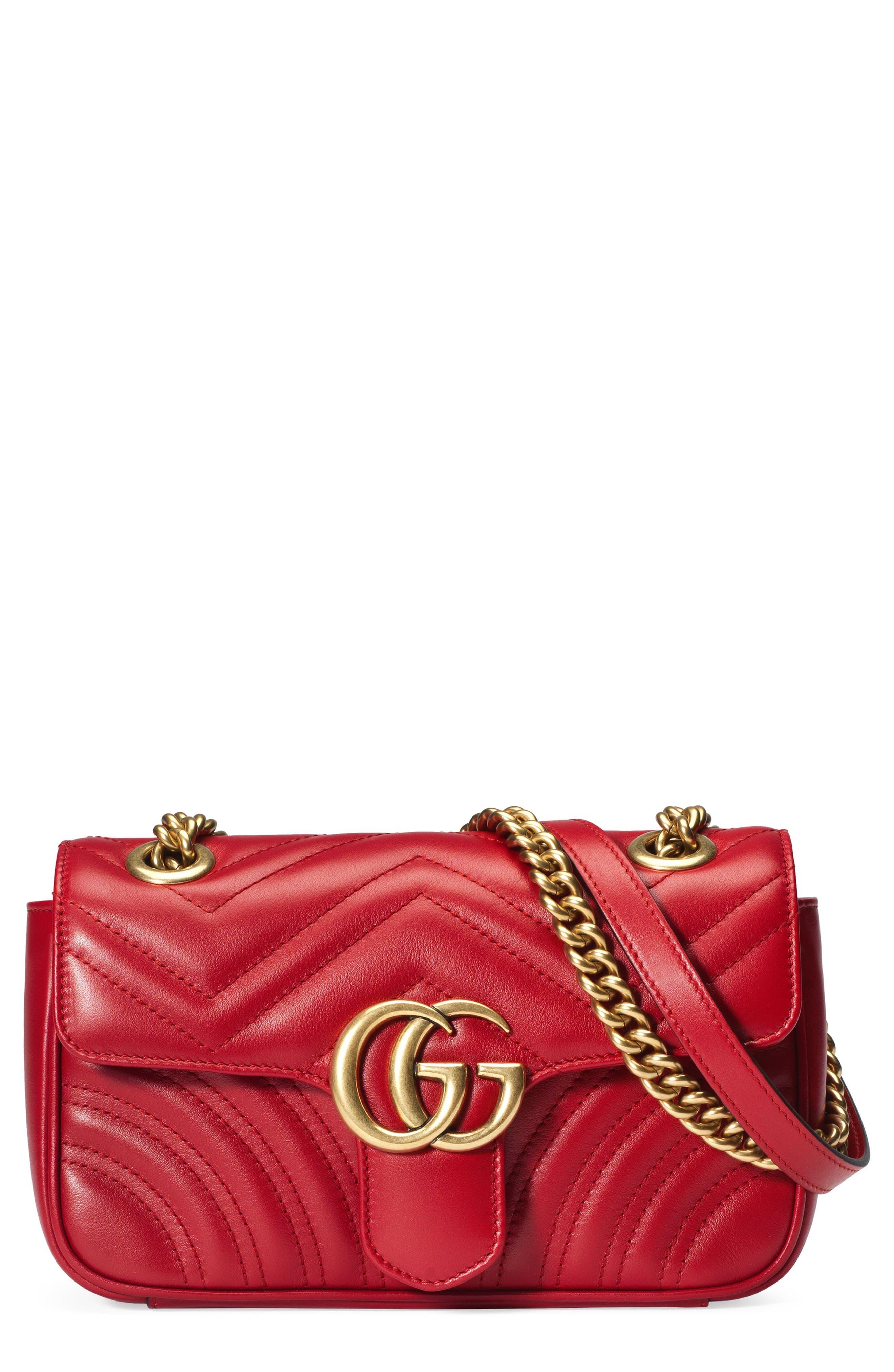 Mini GG Marmont 2.0 Matelassé Leather Shoulder Bag,                             Main thumbnail 1, color,                             HIBISCUS RED