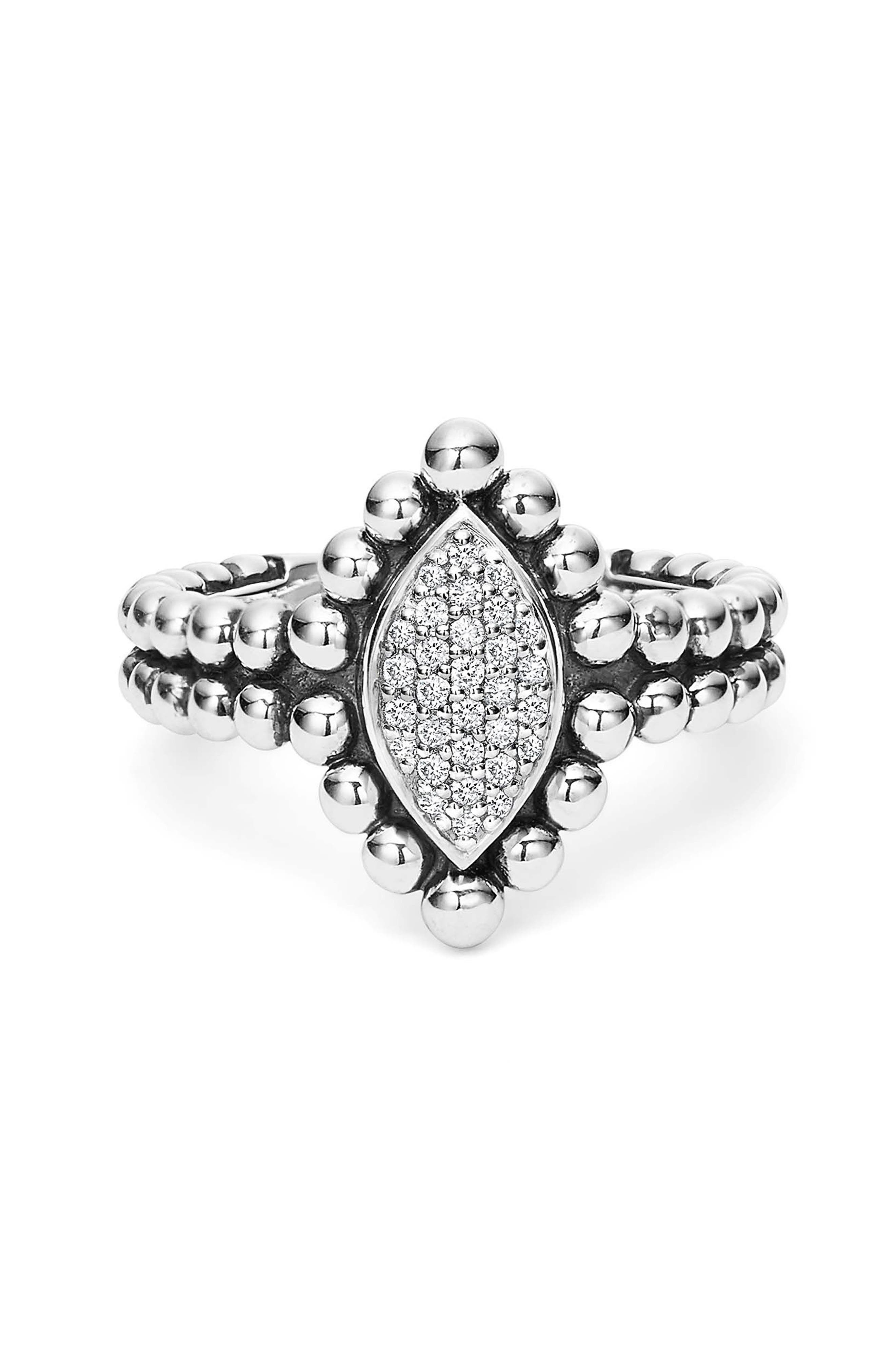Caviar Spark Diamond Marquise Ring,                             Alternate thumbnail 2, color,                             SILVER/ DIAMOND