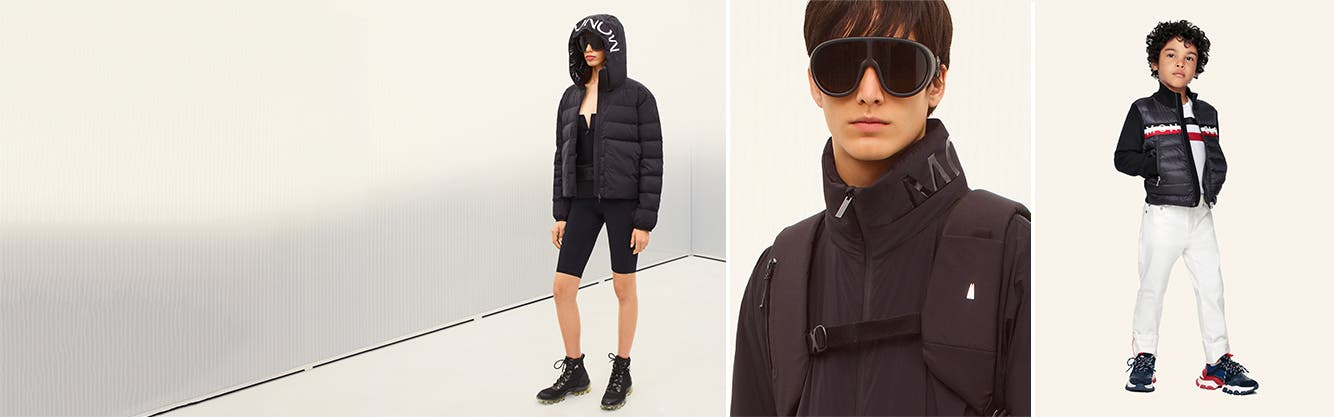 A woman in Moncler sunglasses, jacket, top and bike shorts; a man in sunglasses and a jacket; a child in a jacket, pants and sneakers.