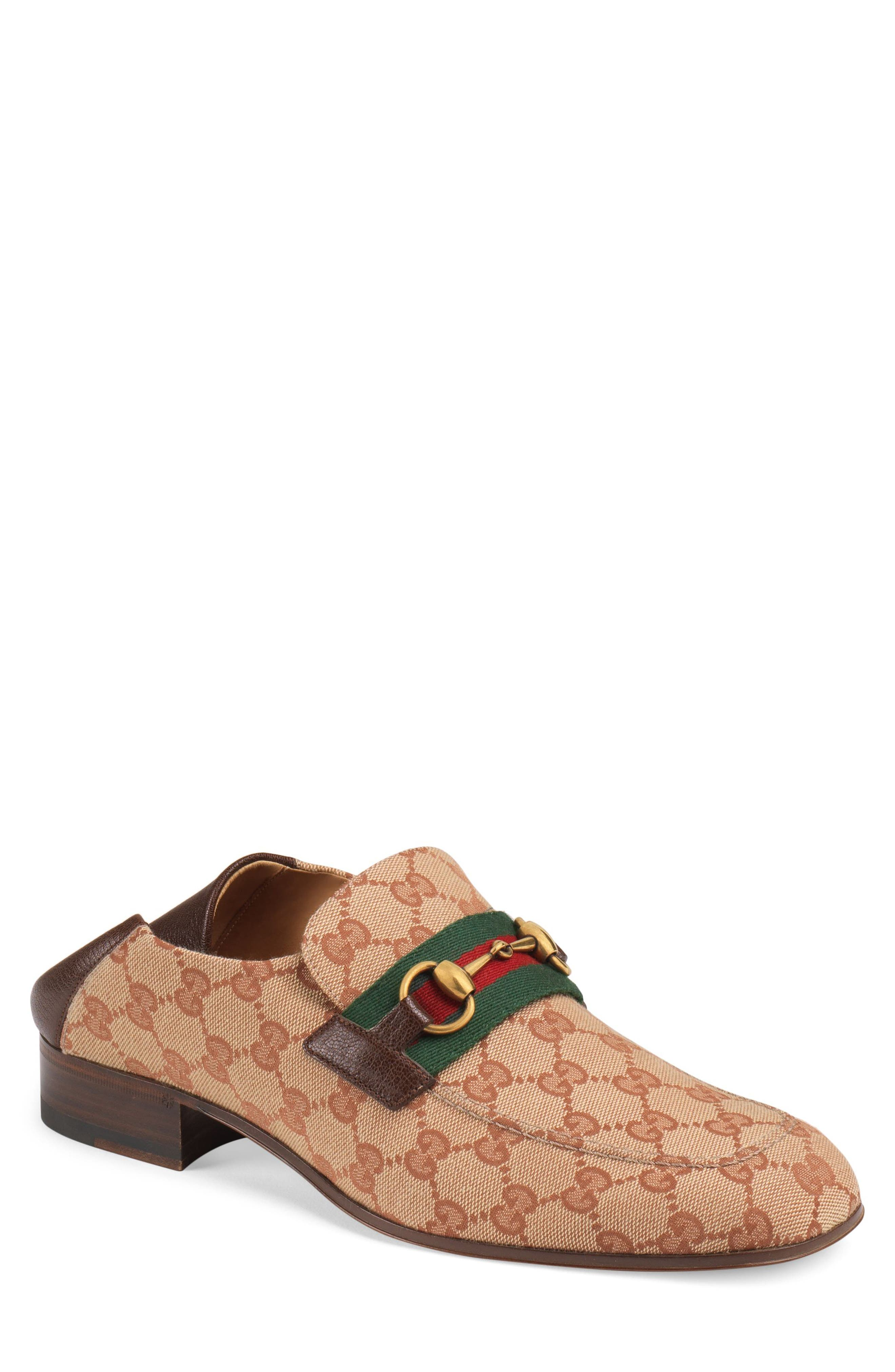 GUCCI,                             Horsebit Collapsible Leather Loafer,                             Main thumbnail 1, color,                             BEIGE/ ROSE