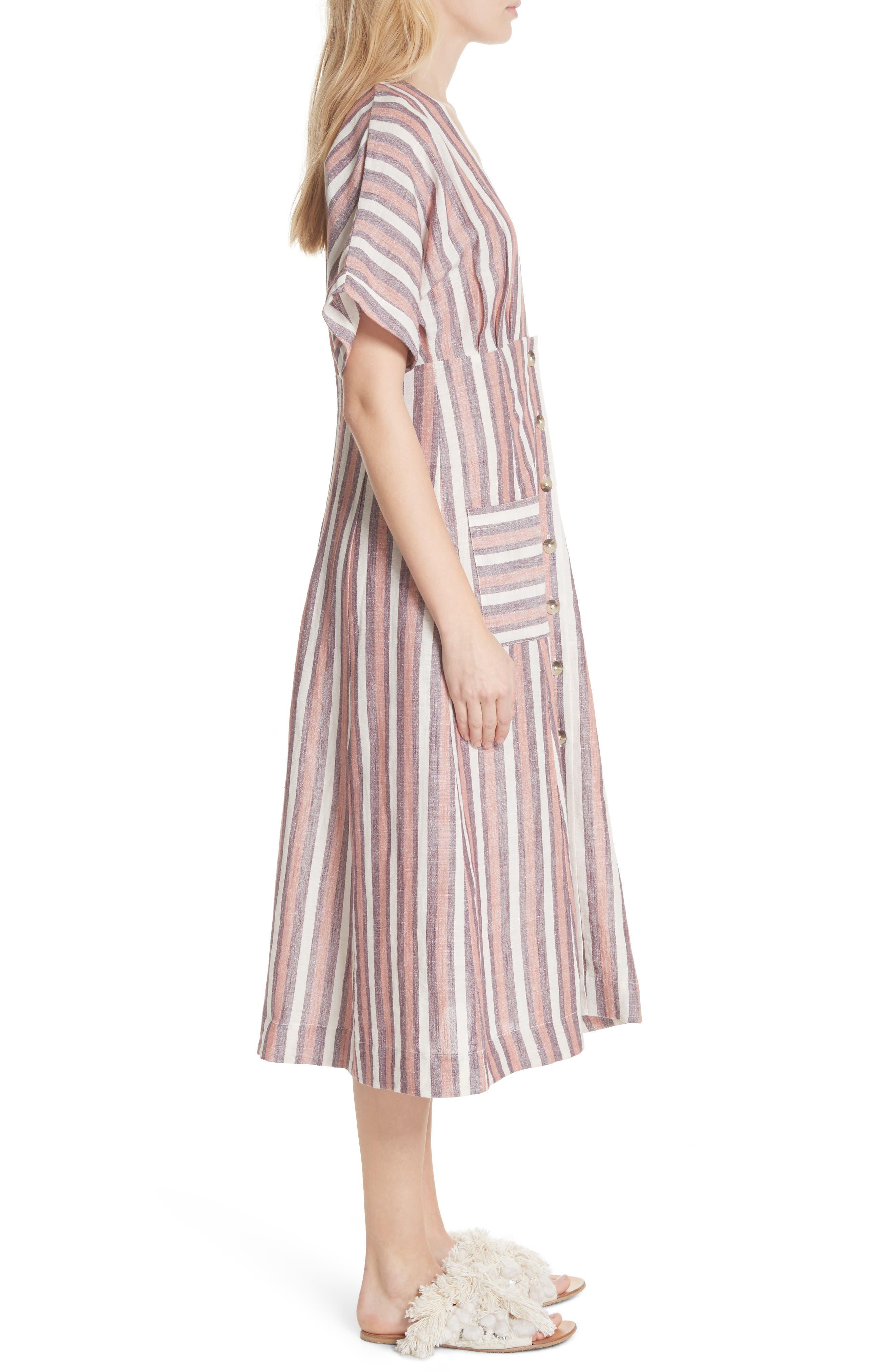 Monday Stripe Linen Blend Midi Dress,                             Alternate thumbnail 6, color,