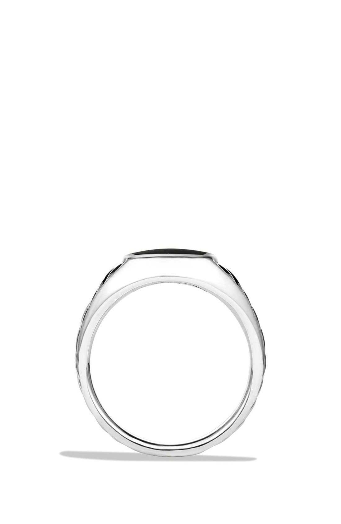 'Cable Classics' Signet Ring,                             Alternate thumbnail 2, color,                             SILVER/ BLACK ONYX