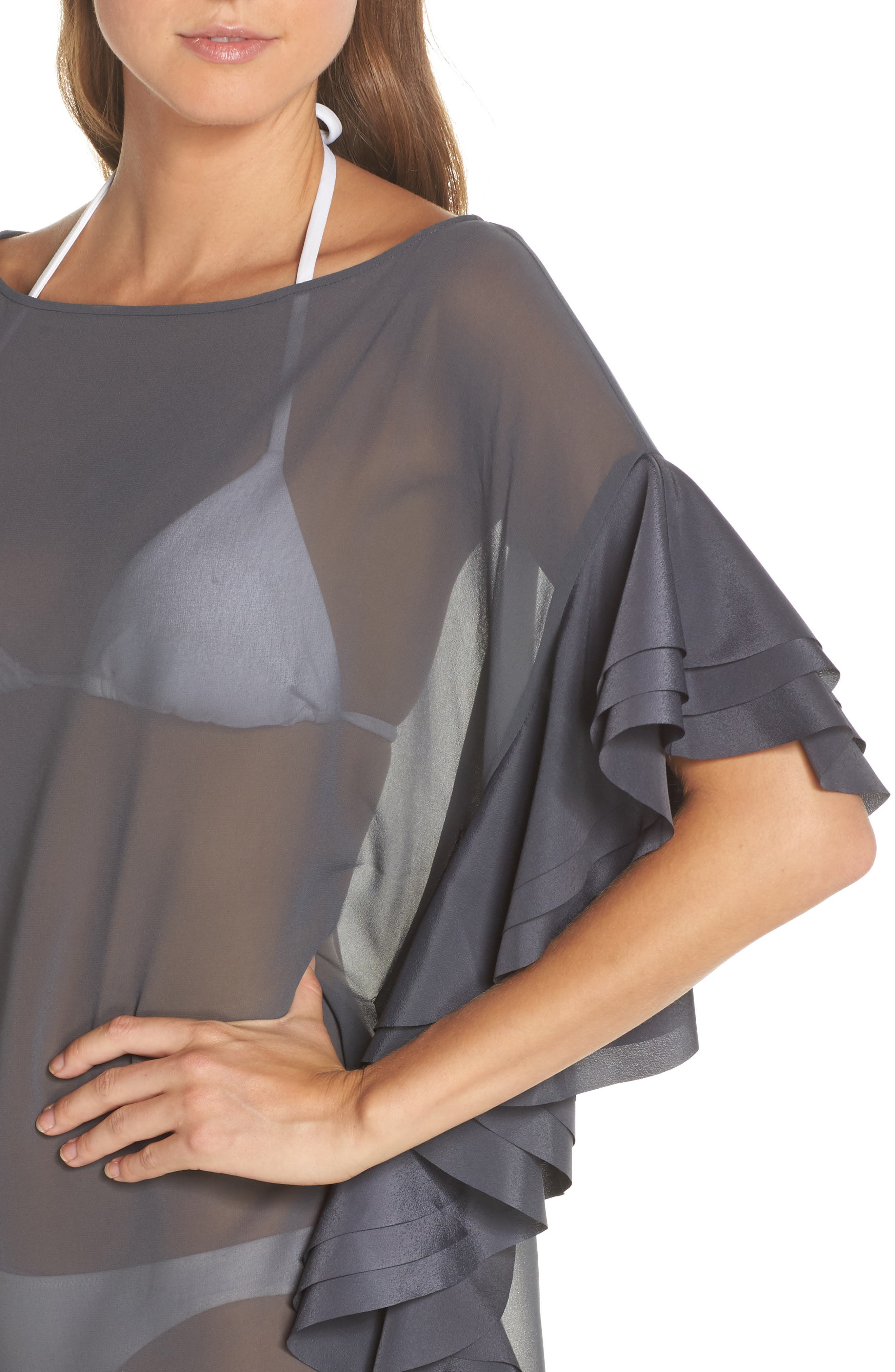 Ruffle Square Cover-Up Dress,                             Alternate thumbnail 4, color,                             030