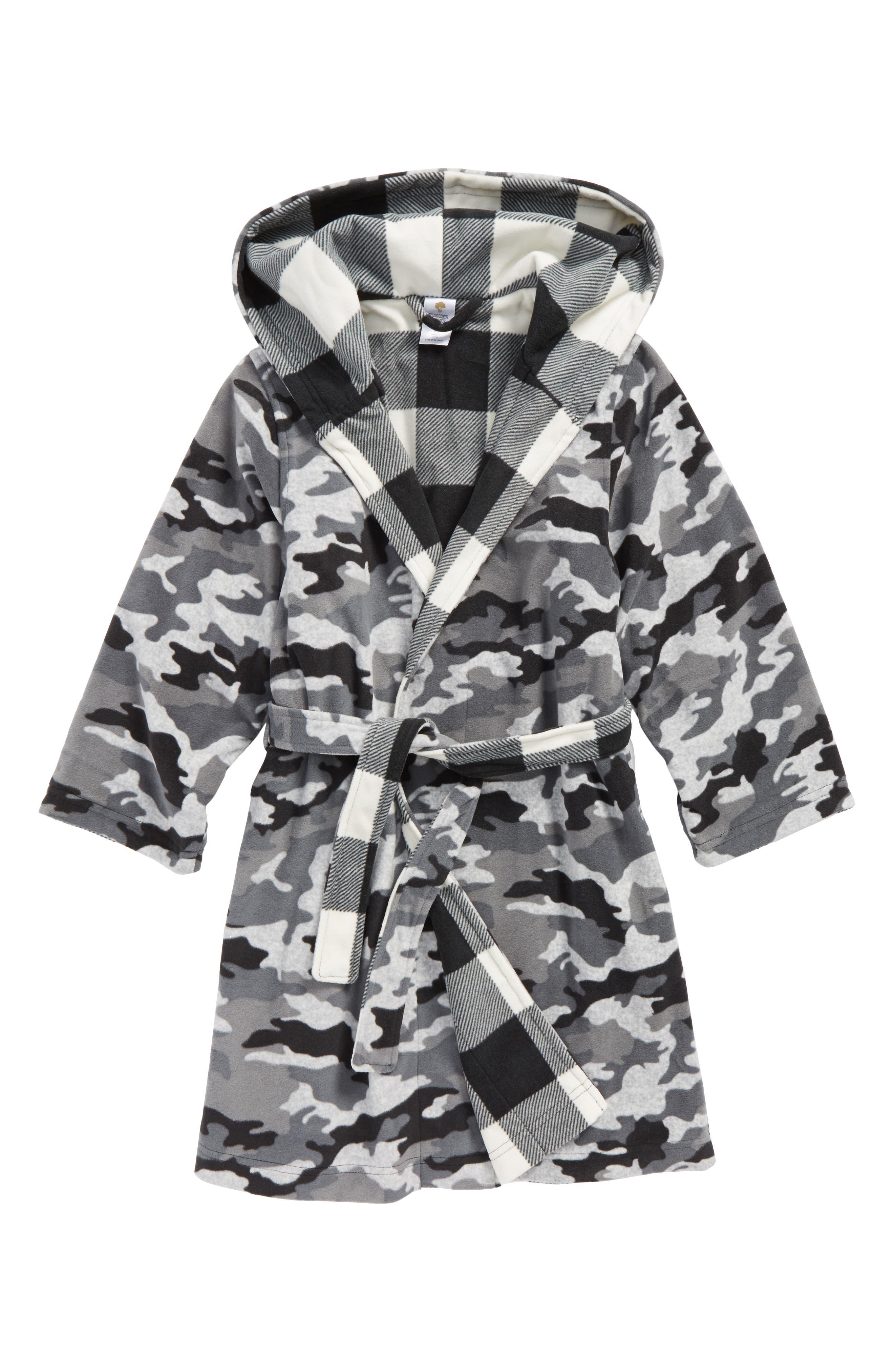 Reversible Hooded Robe,                             Main thumbnail 1, color,                             GREY ASH HEATHER CAMO