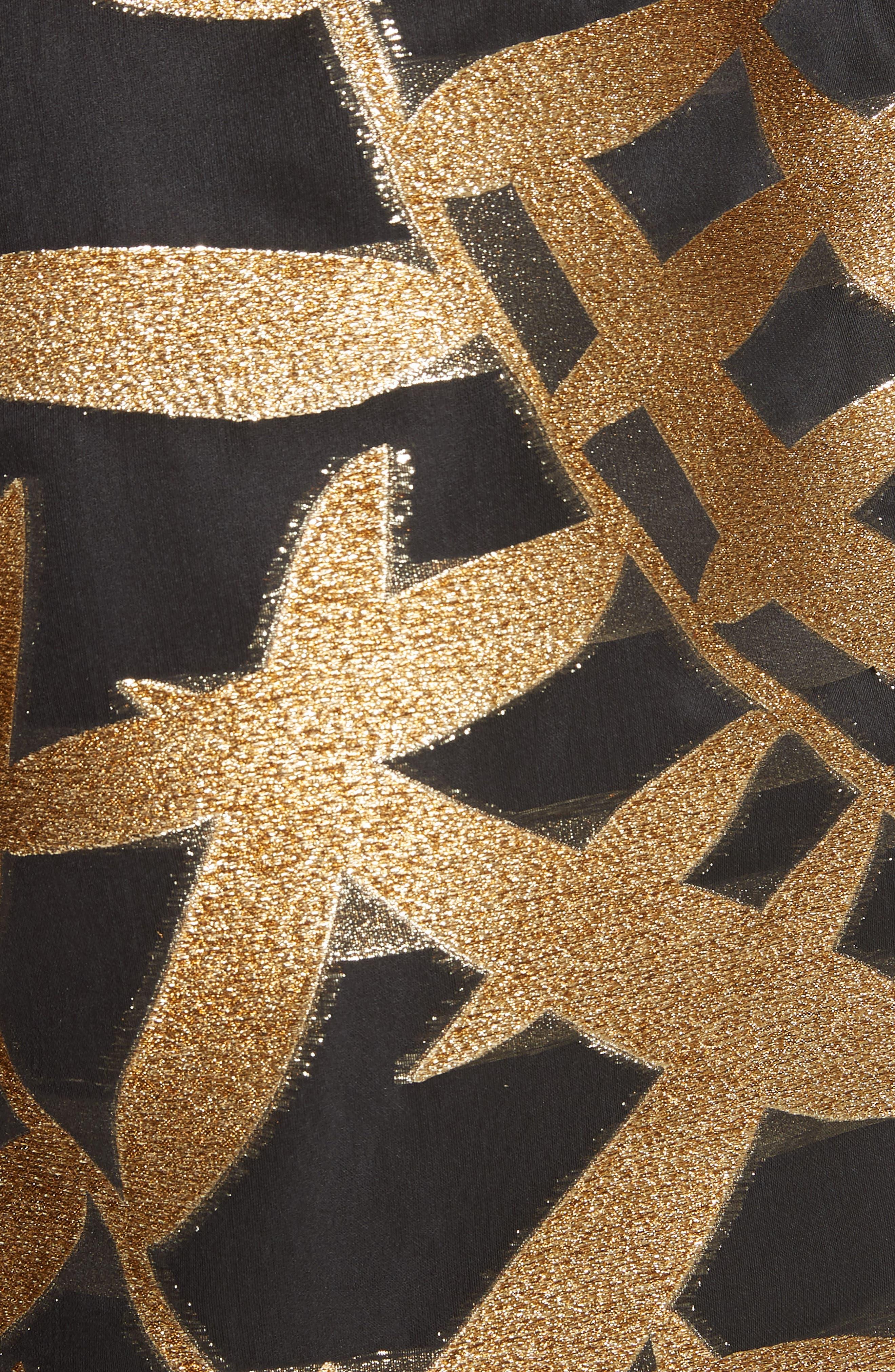 Glitter Fil Coupé Dress,                             Alternate thumbnail 5, color,                             001