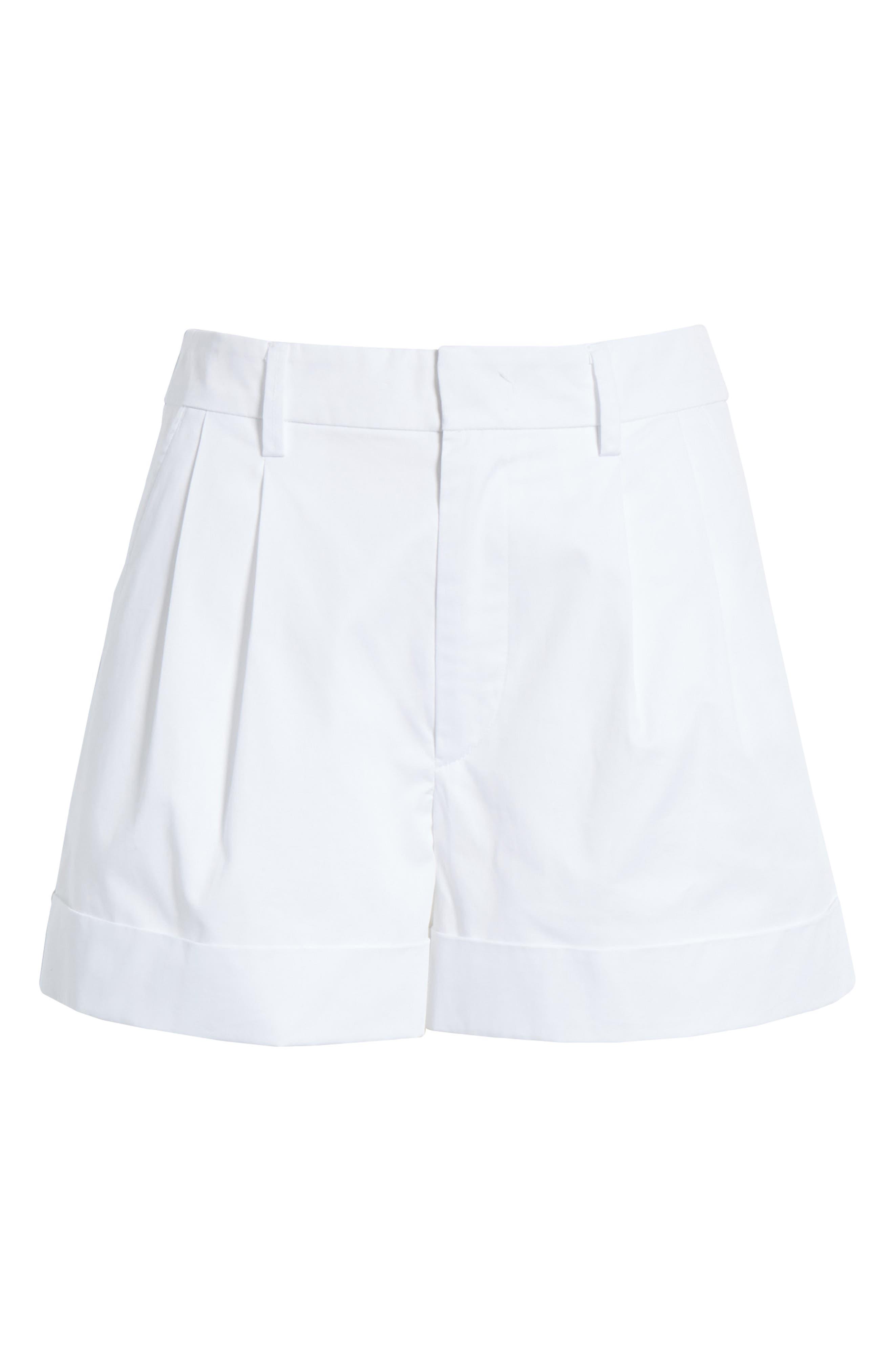Olbia Cotton Shorts,                             Alternate thumbnail 6, color,                             WHITE