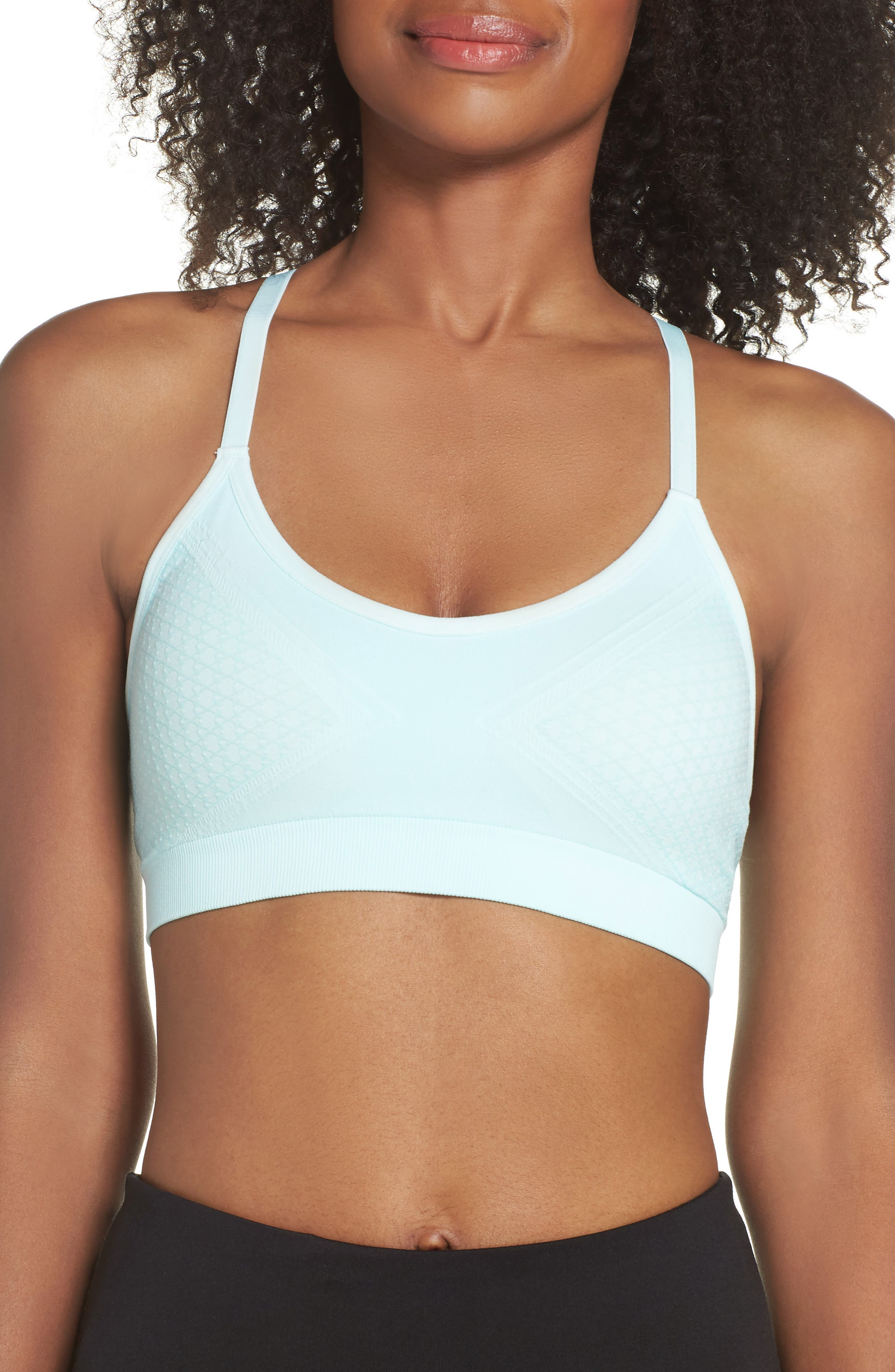 Jade Mesh Inset Racerback Sports Bra,                             Main thumbnail 1, color,                             CLEAR WATER