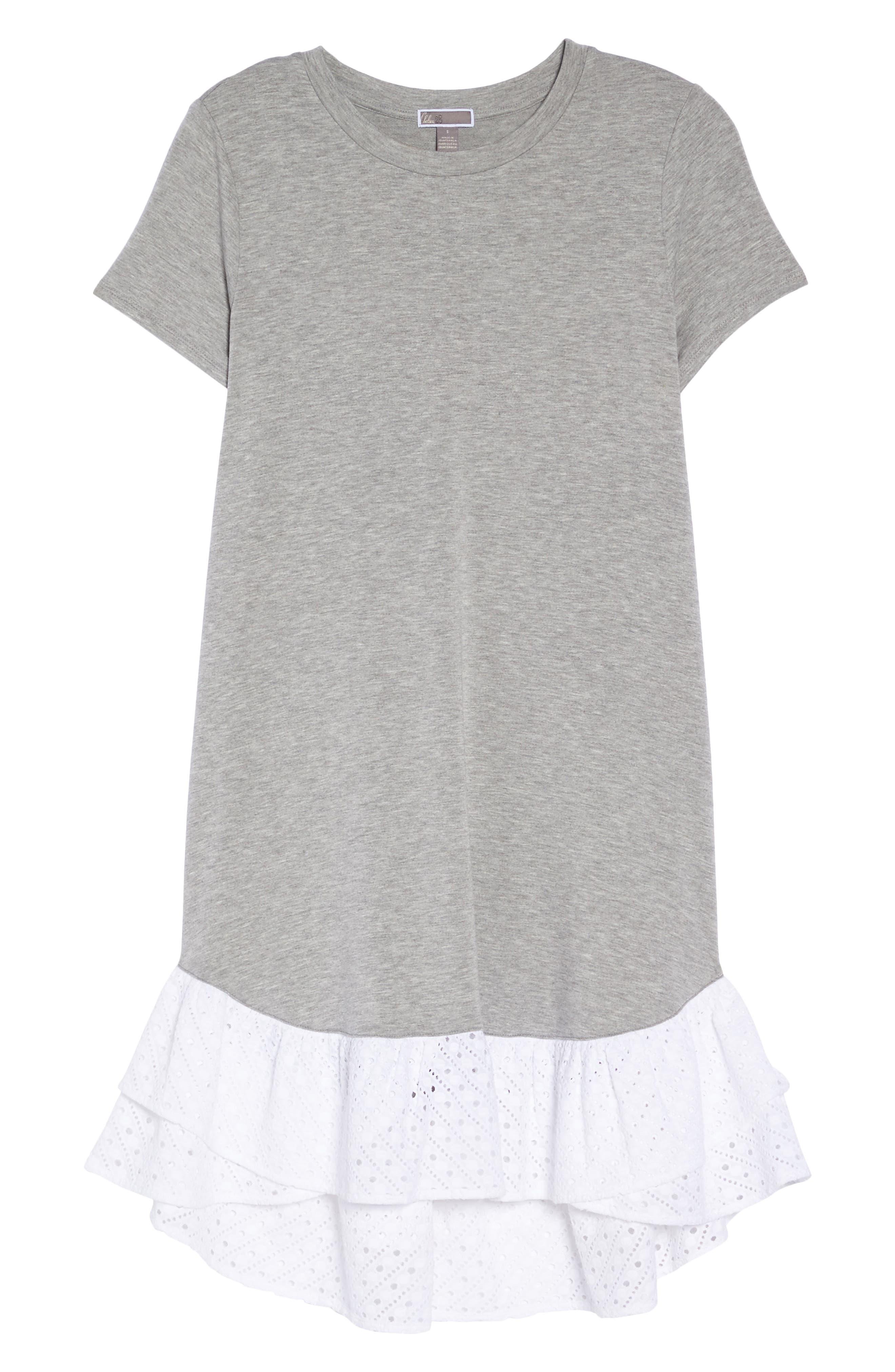 Eyelet Trim T-Shirt Dress,                             Alternate thumbnail 6, color,                             030