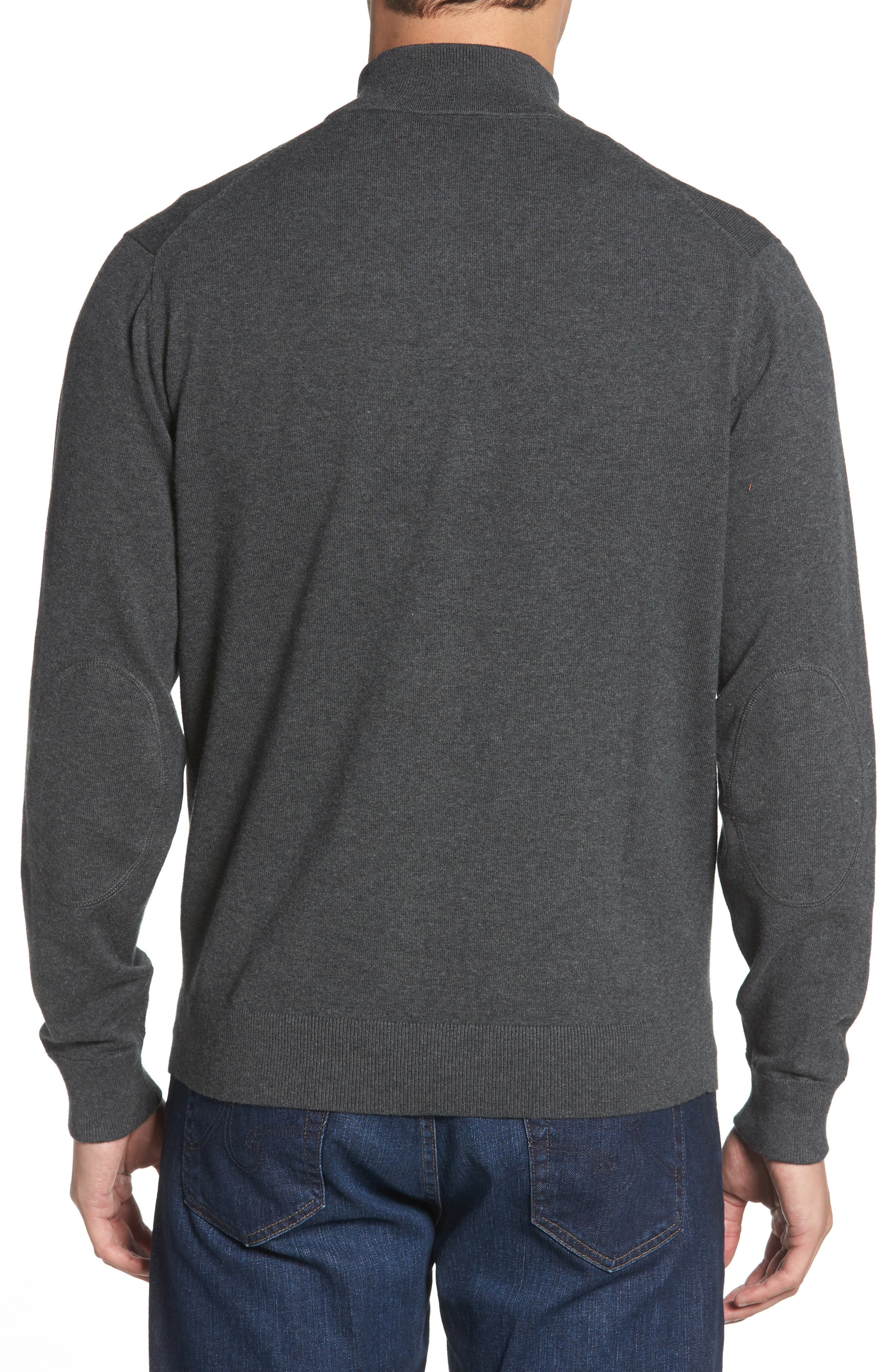 New England Patriots - Lakemont Regular Fit Quarter Zip Sweater,                             Alternate thumbnail 2, color,                             CHARCOAL HEATHER